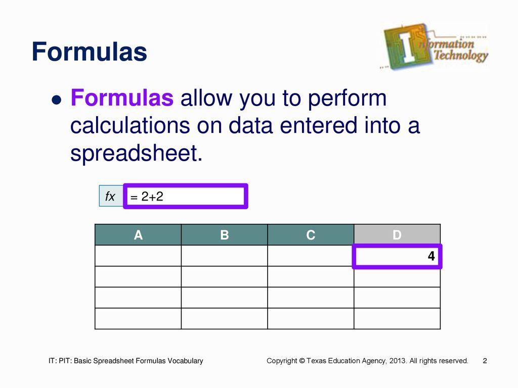 Spreadsheet Formulas For Basic Spreadsheet Formulas Ppt
