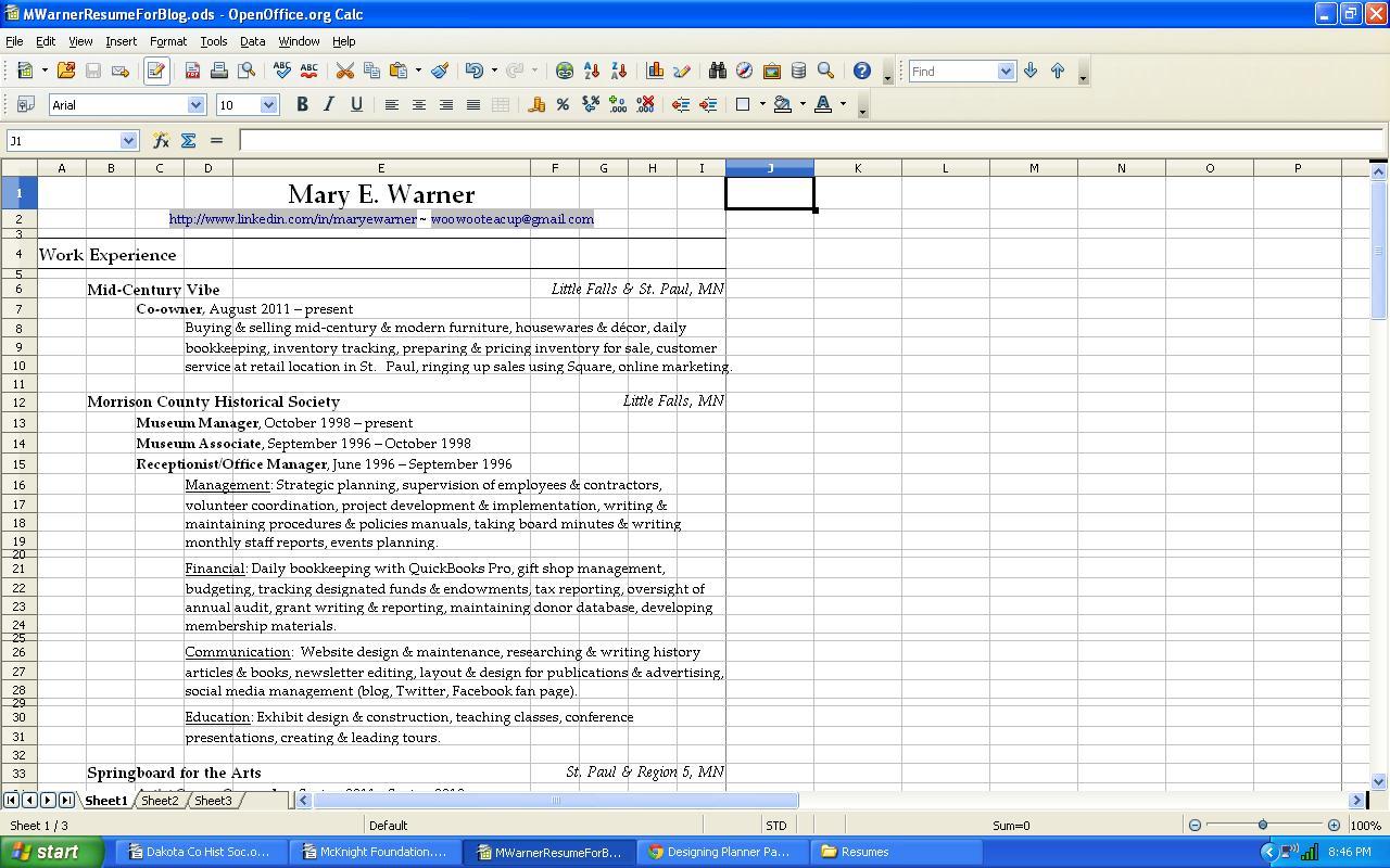 Spreadsheet Resume Intended For Resume Spreadsheet