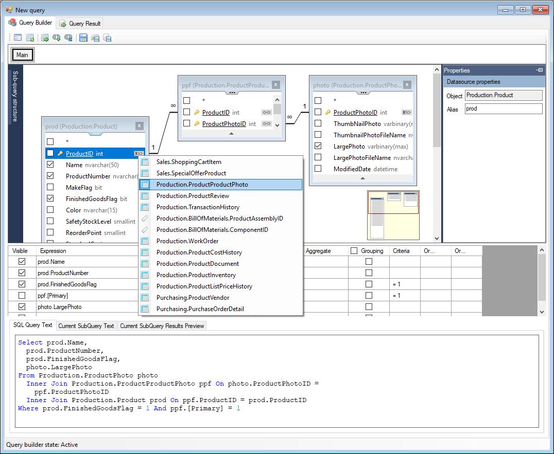 Spreadsheet Server Query Designer In Visual Sql Query