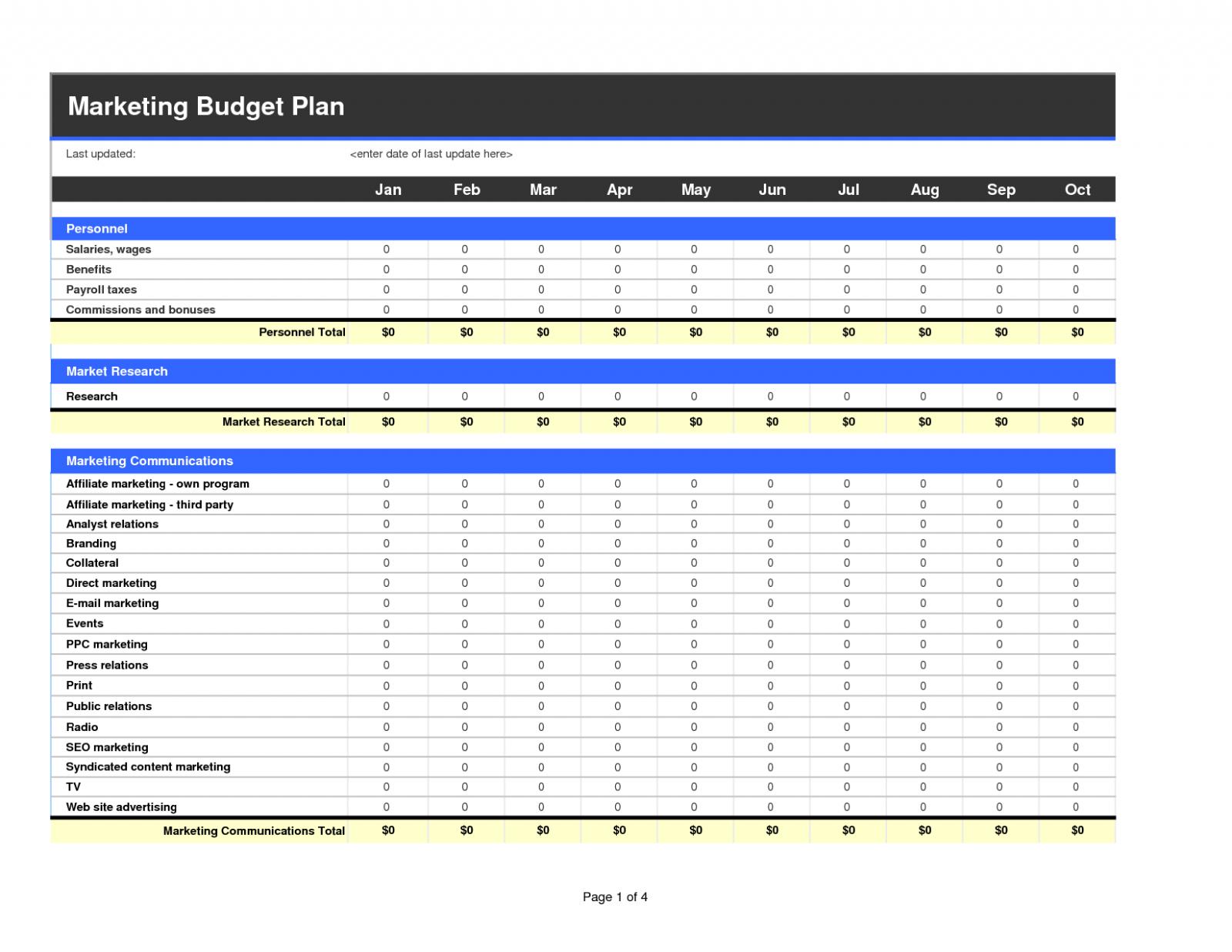 Stock Market Spreadsheet Regarding Marketing Budget Sheet