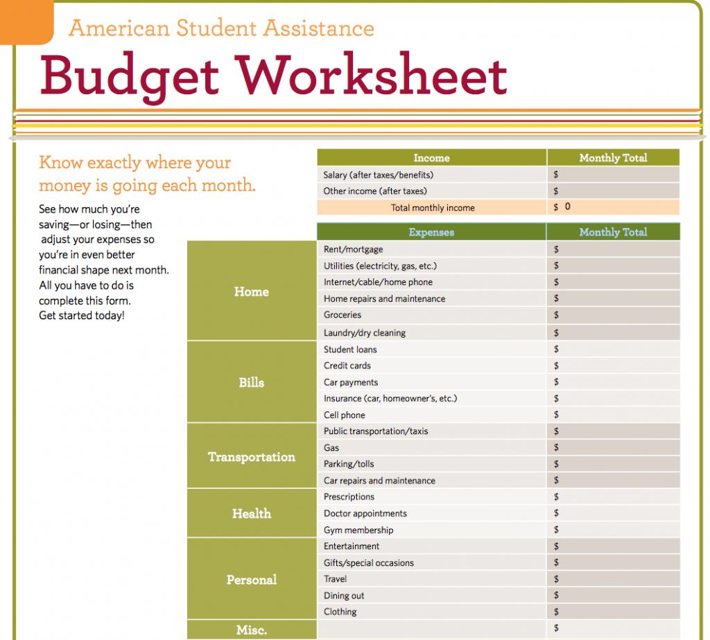 Student Expenses Spreadsheet Inside Student Budget