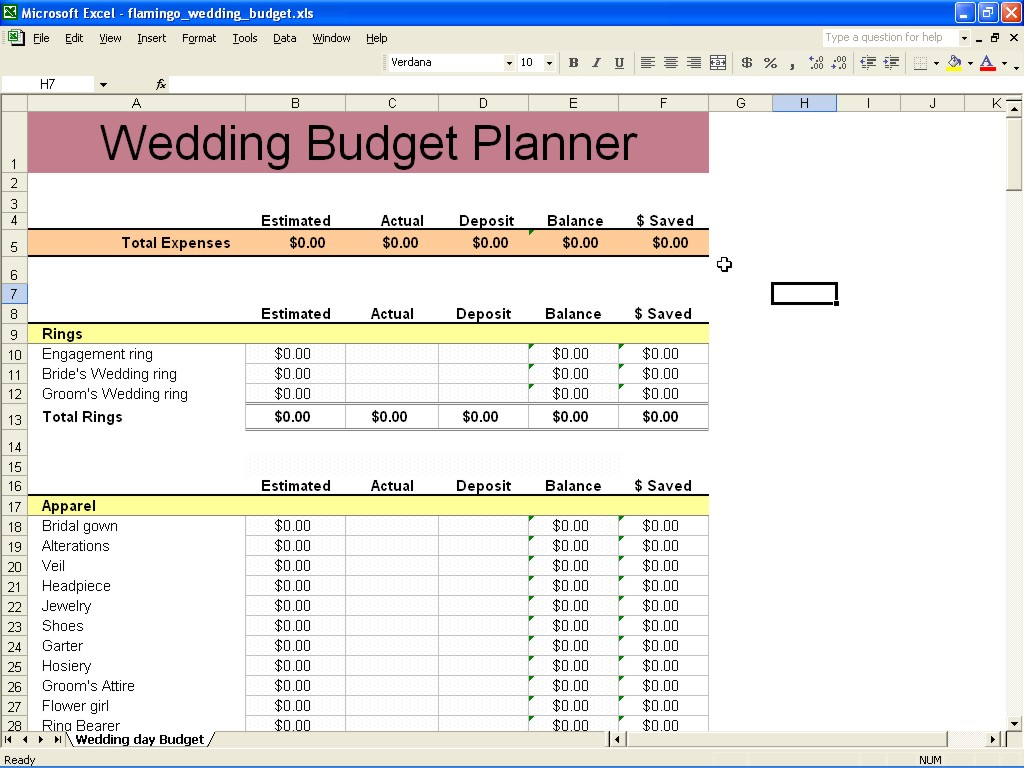 The Knot Wedding Budget Spreadsheet Spreadshee The