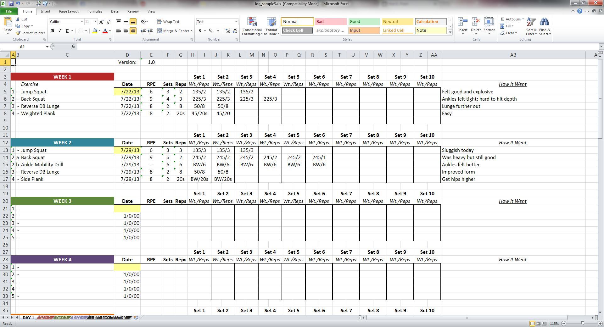 Training Tracking Spreadsheet Spreadsheet Downloa Strength