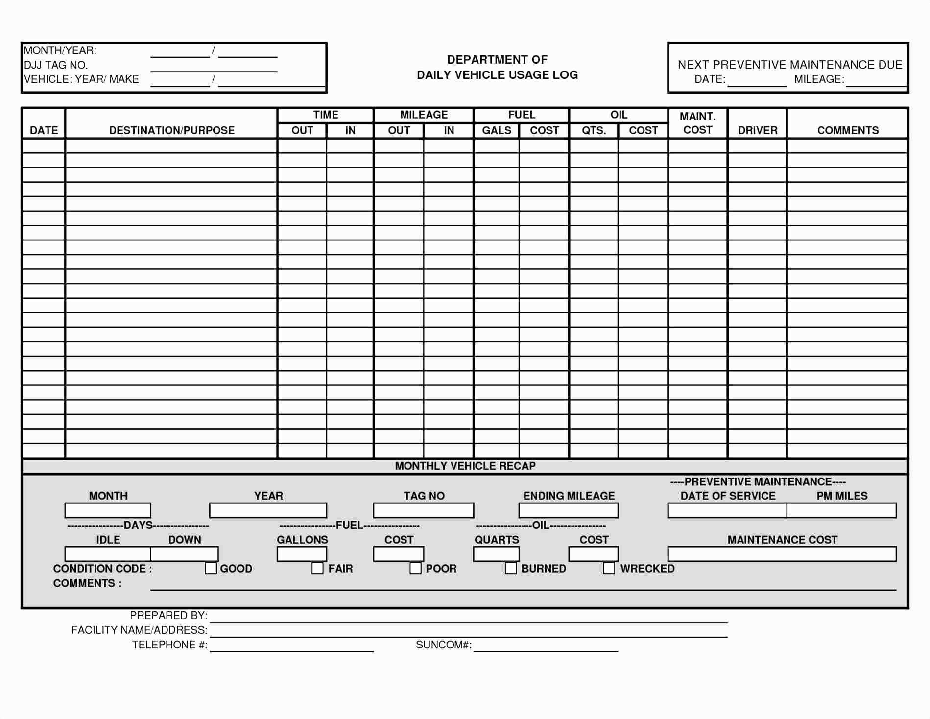 Vehicle Fleet Management Spreadsheet Pertaining To Truck