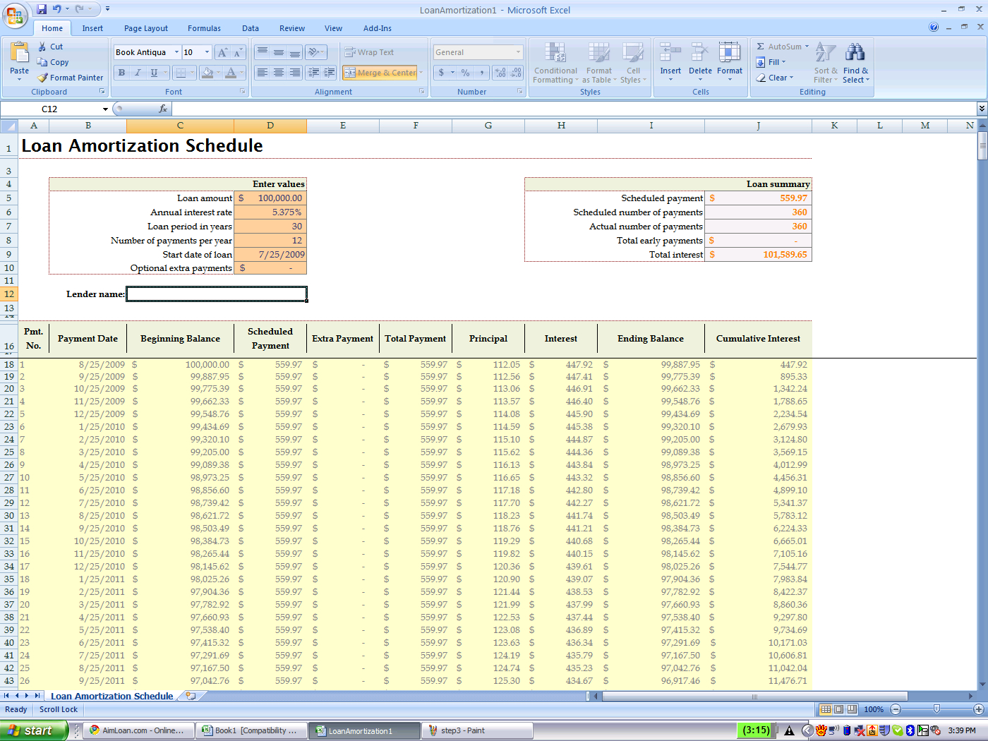 amortization schedule excel template free