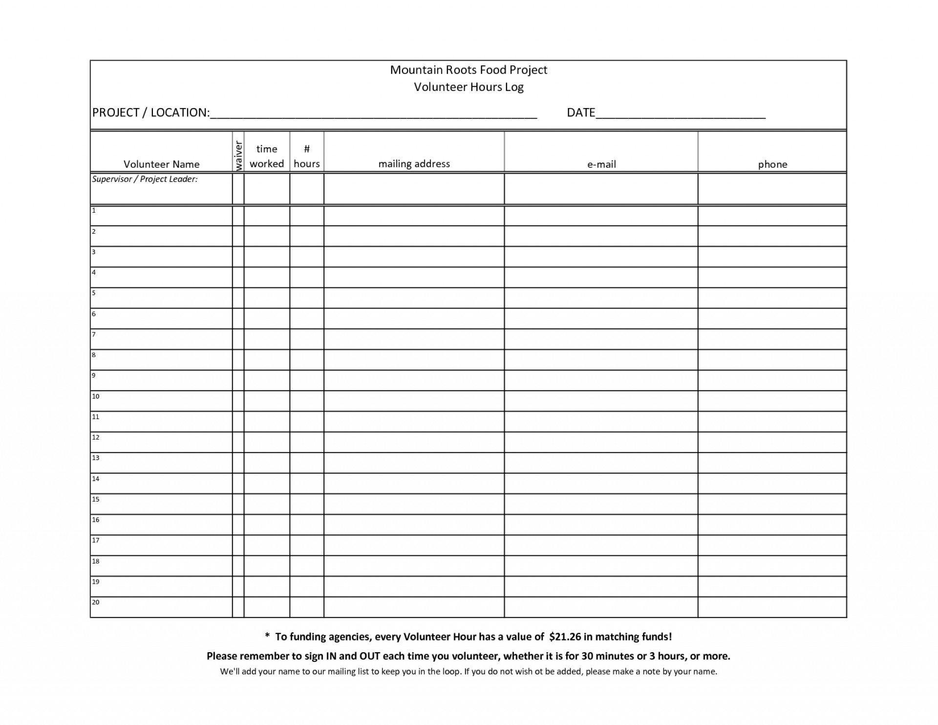 Volunteer Spreadsheet Excel Spreadshee Volunteer