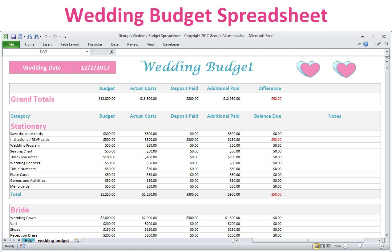 Wedding Budget Spreadsheet Uk Throughout Wedding Budget
