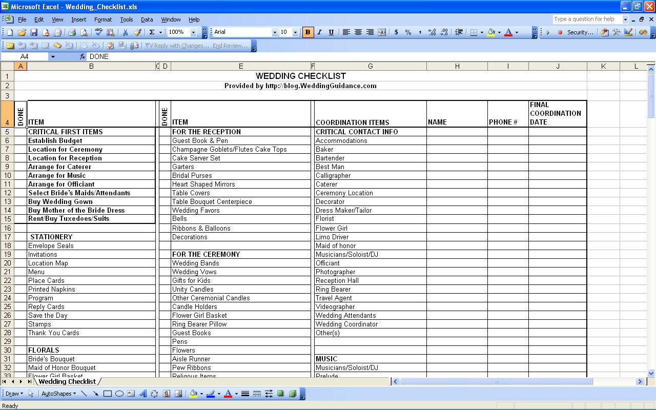 Wedding Planning Guest List Spreadsheet Spreadsheet Downloa Wedding Planning Guest List Spreadsheet