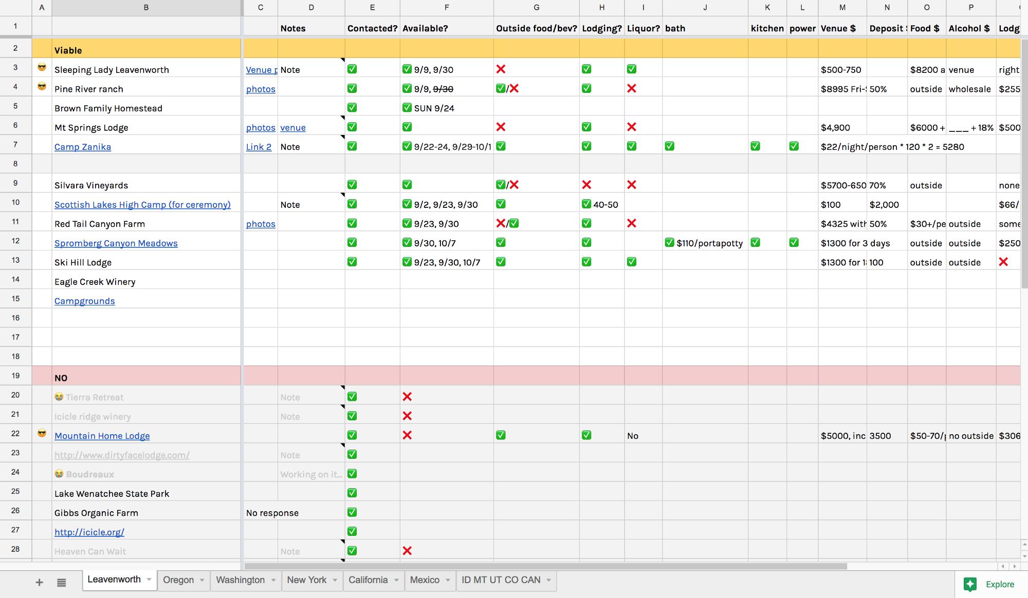 Wedding Vendor Comparison Spreadsheet Db Excel