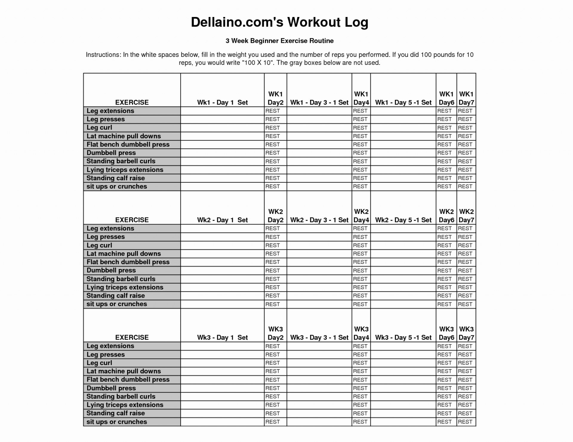 Weight Training Spreadsheet Template Spreadsheet Downloa