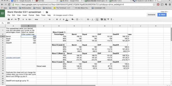 Westside Barbell Program Spreadsheet Printable Spreadsheet