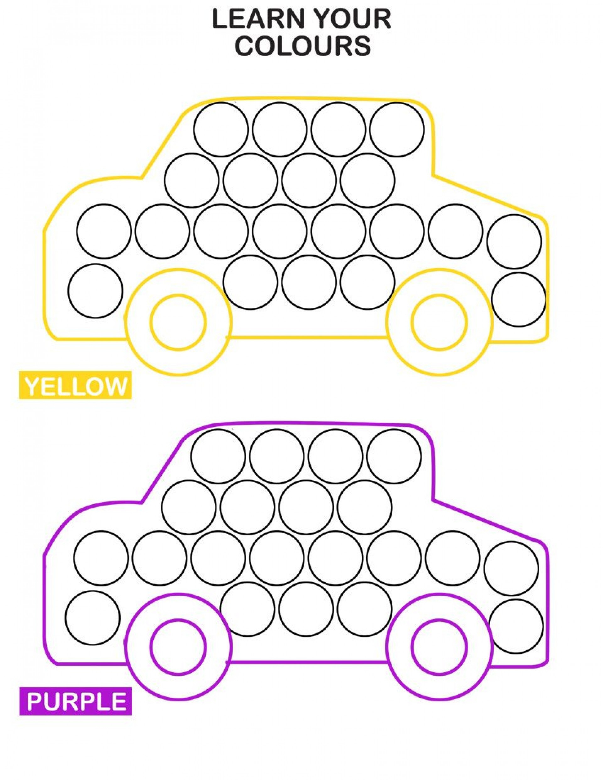018 Worksheet Learn Colors With Cars Do Dot Transportation