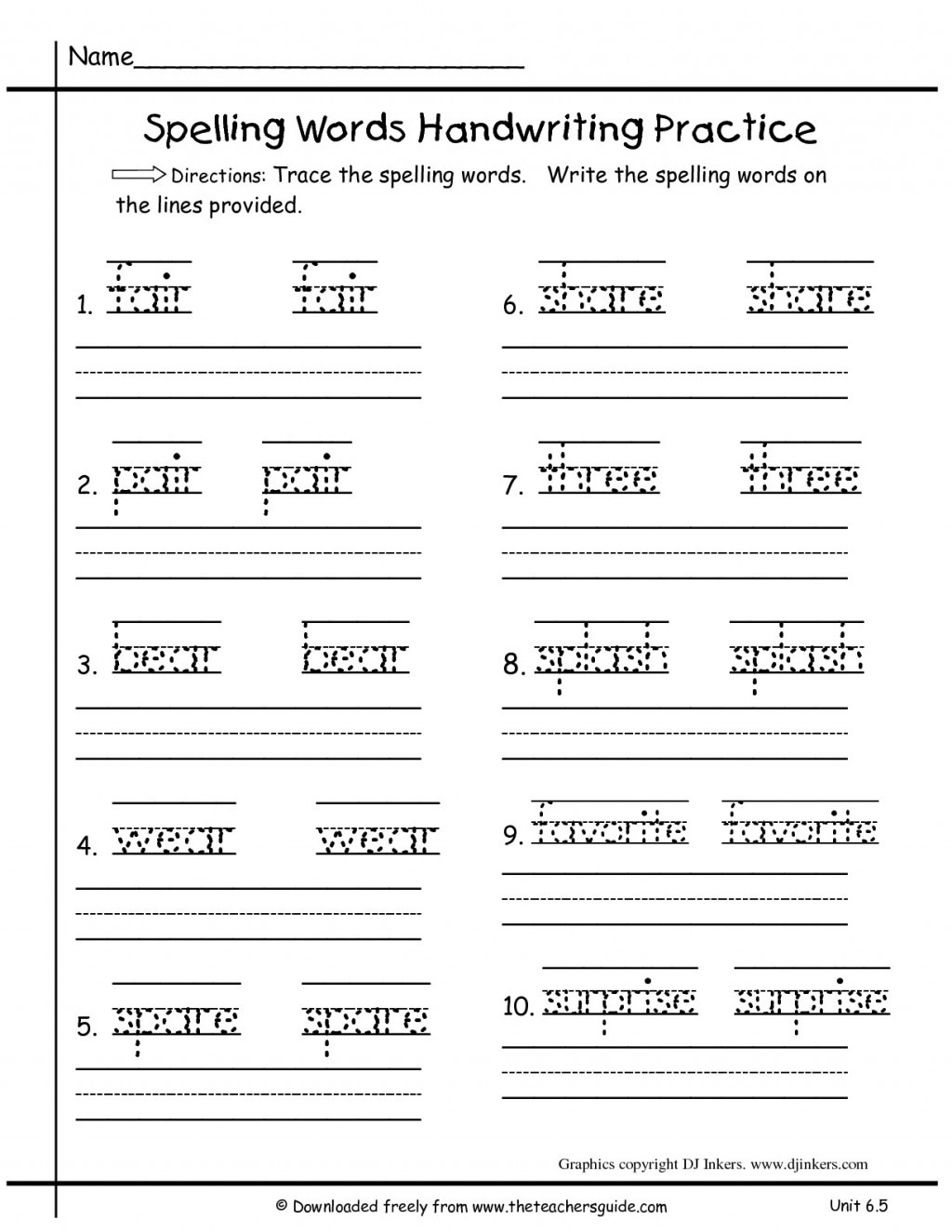 019 Free Ft Grade Spelling Worksheets Writing Sheets For