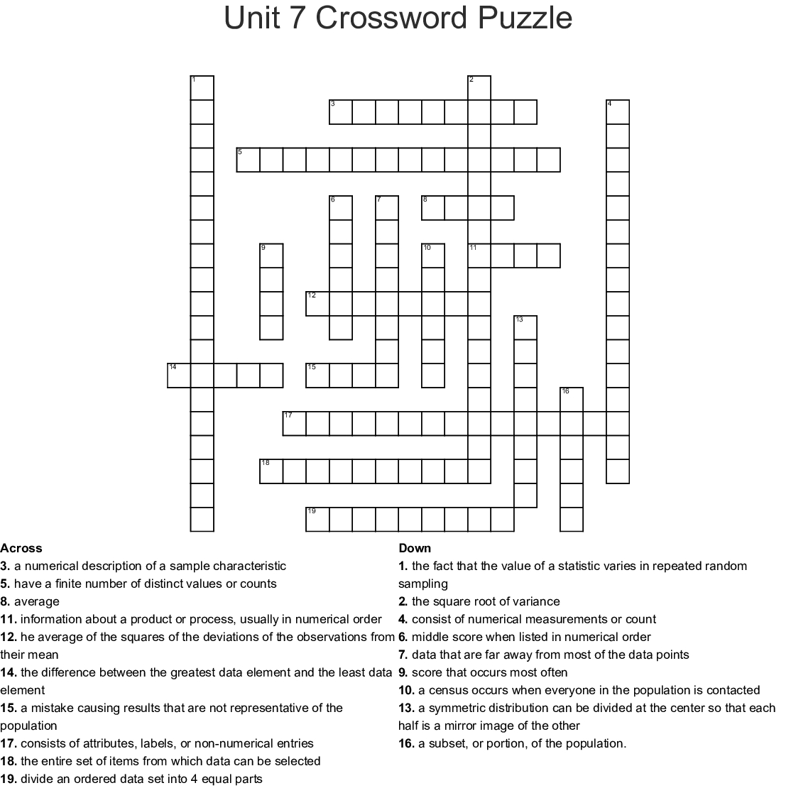 06 Standard Deviation And The Normal Model Crossword