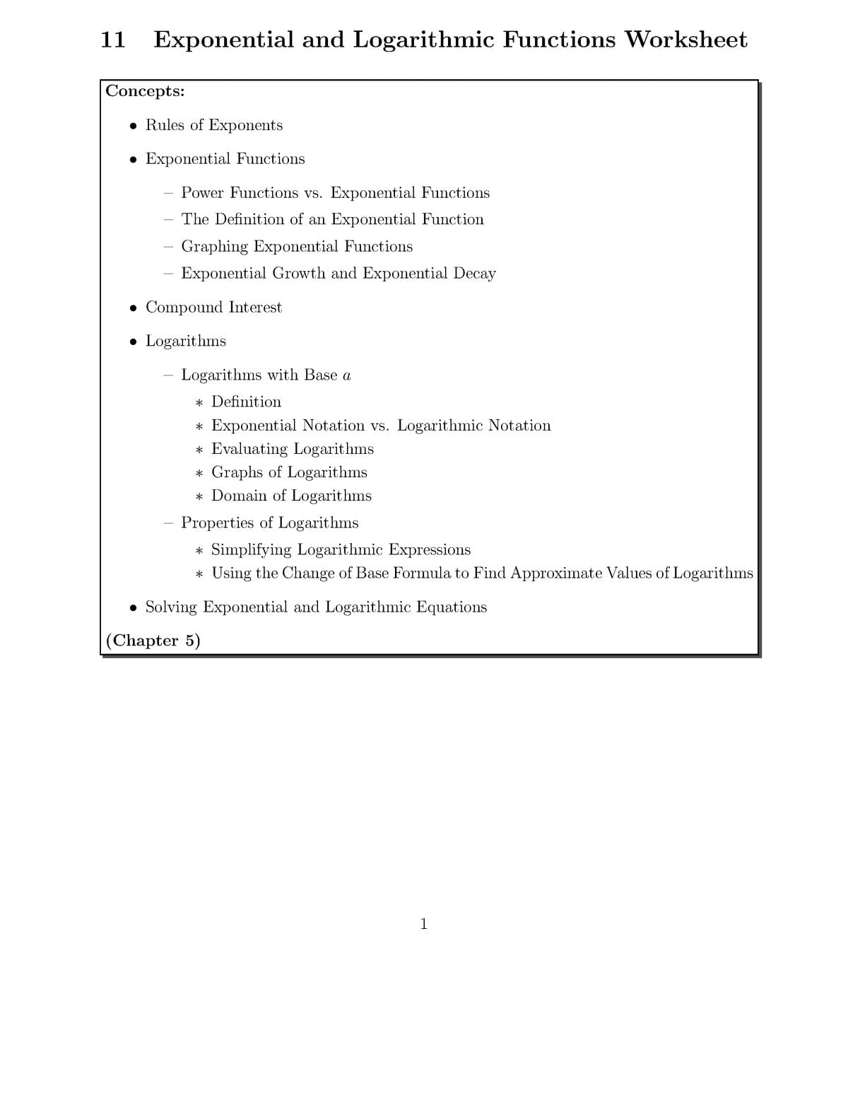 10 Exponential Worksheet Solution Ma109 College Algebra