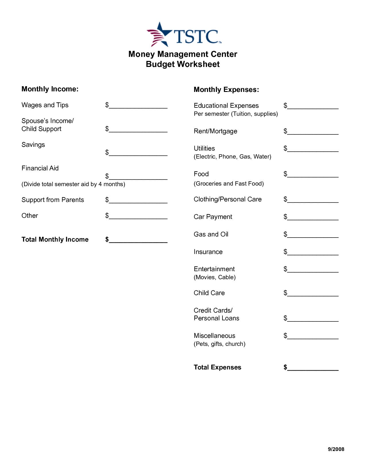 17 Best Images Of Money Management Worksheets Printable