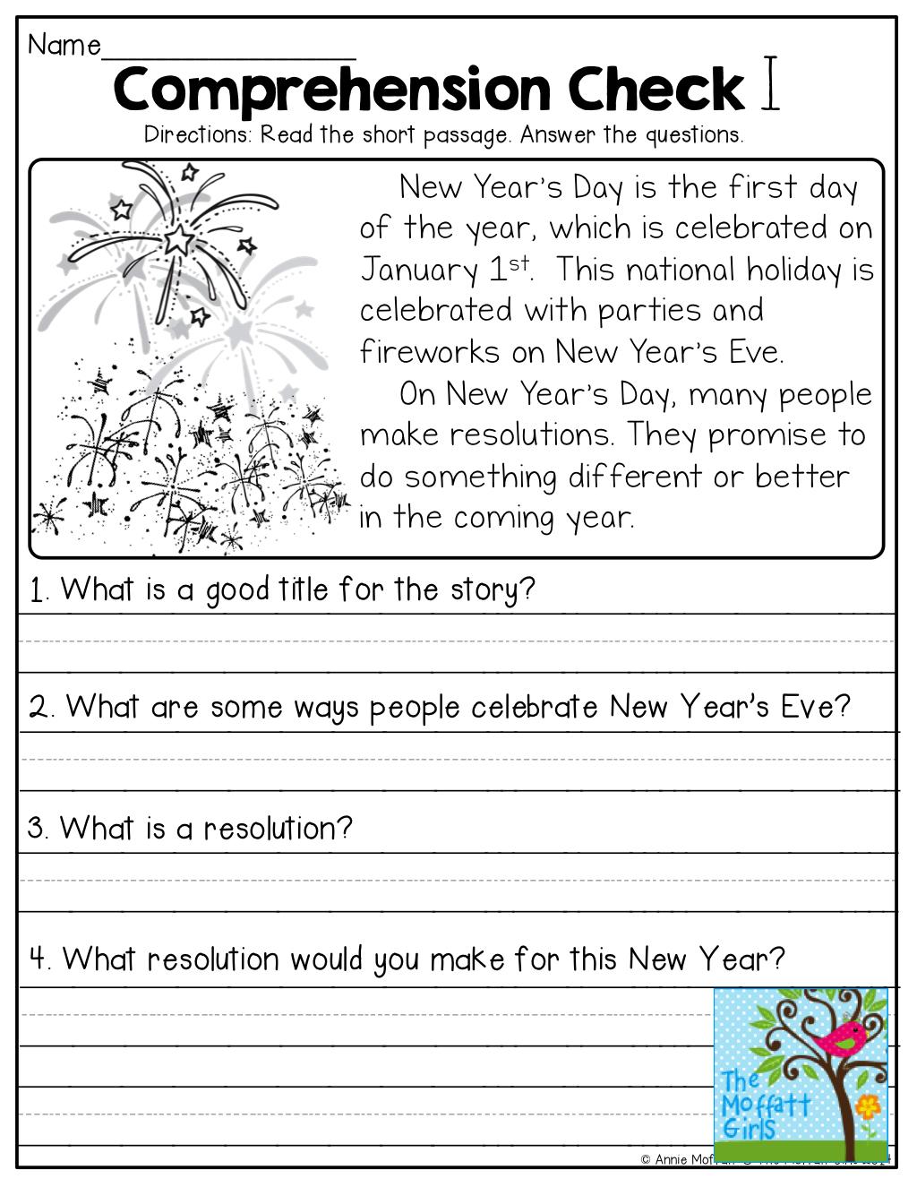 1st Grade Reading Comprehension Worksheets For Free Math