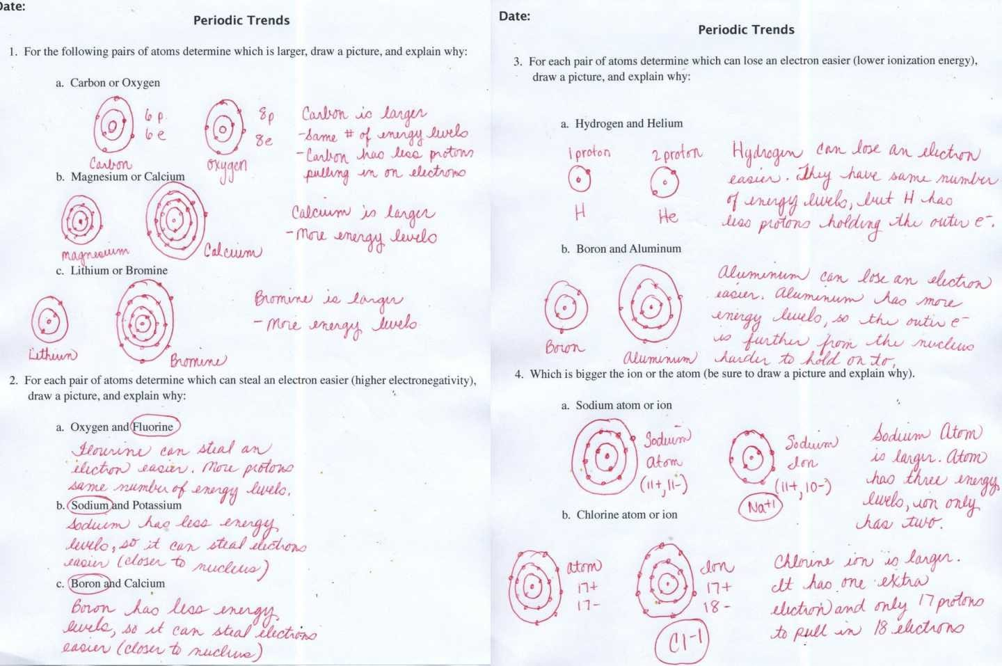 33 Periodic Trends Worksheet Answers Chemistry