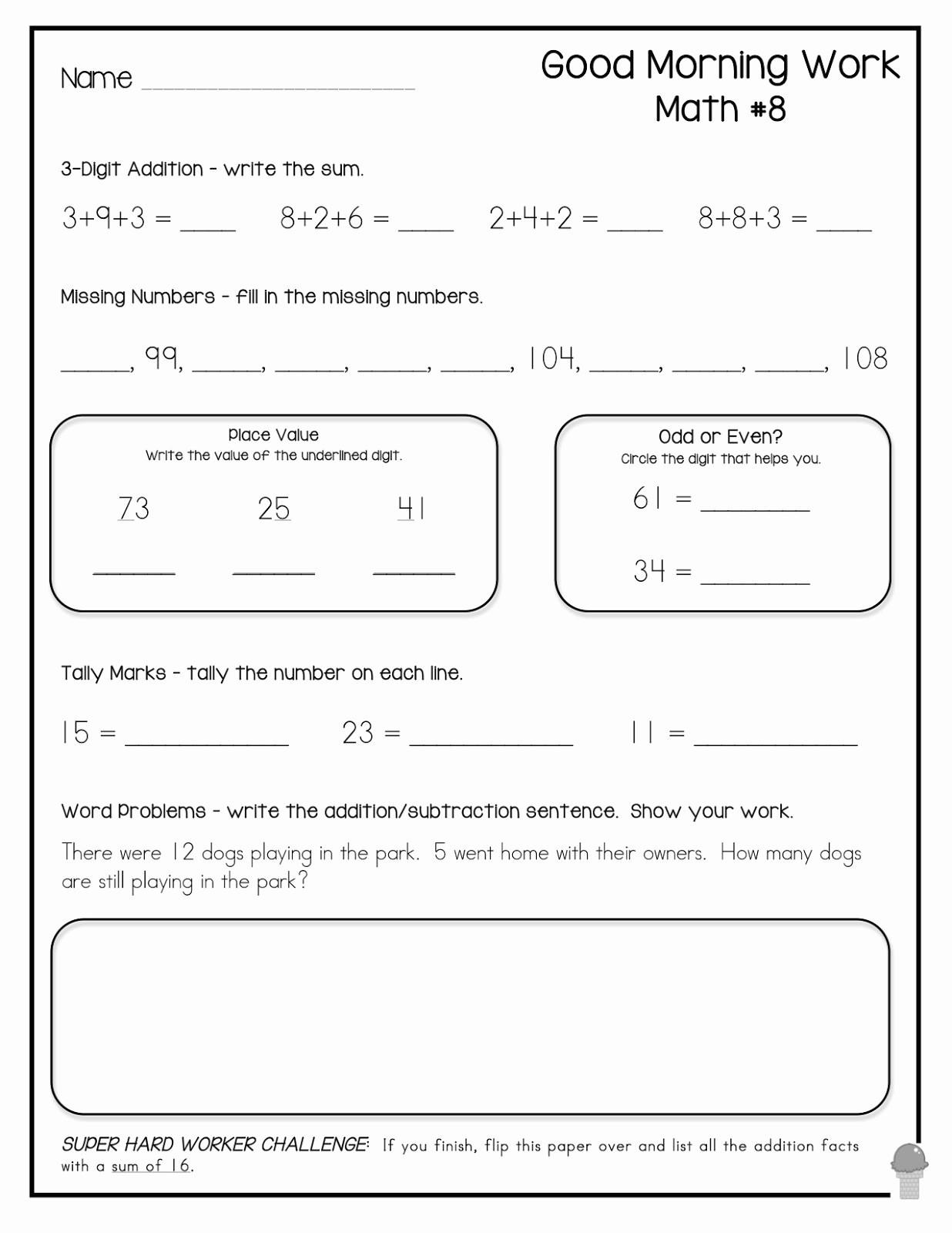 3rd Grade Math Brain Teasers Worksheets Printable