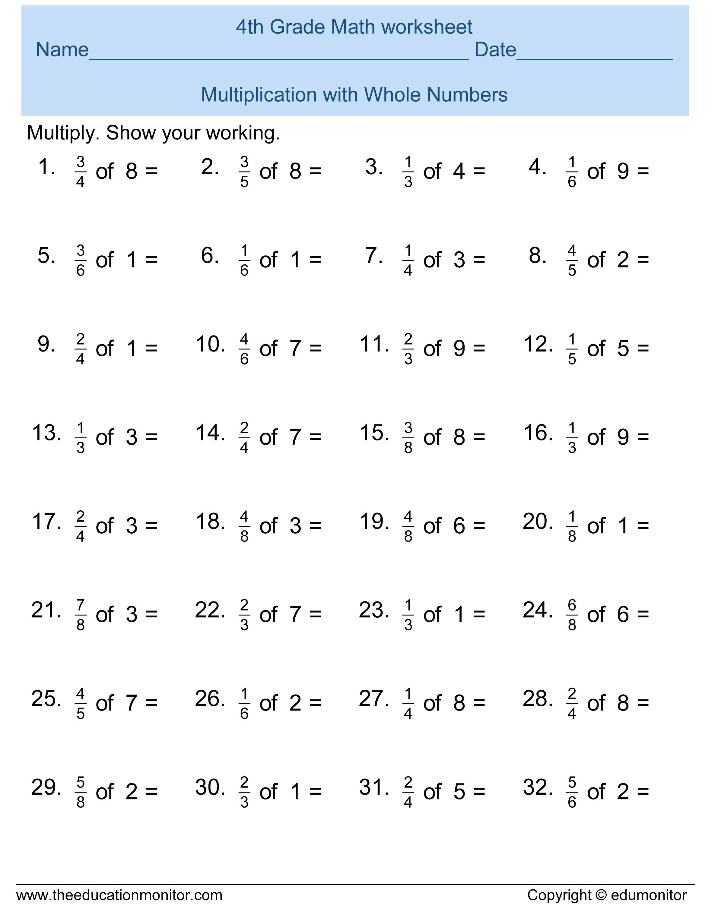 3rd Grade Math Practice Worksheets Fun Multiplication