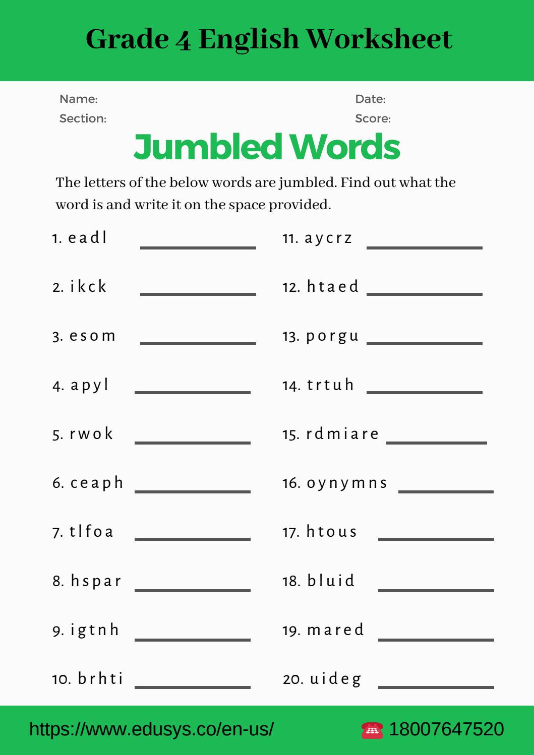 4th Grade English Vocabulary Worksheet Nithya