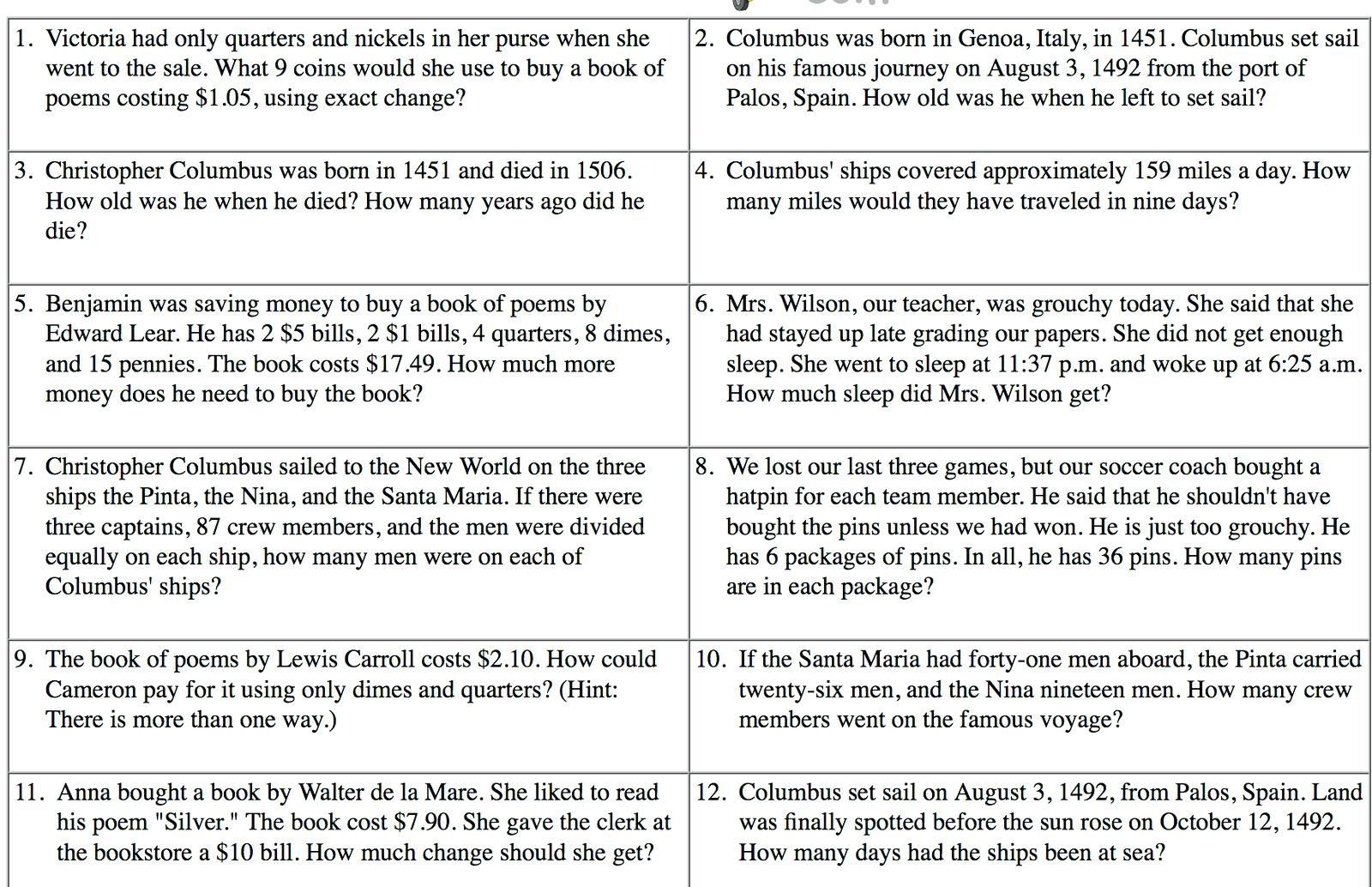 4th Grade Math Word Problems Worksheets