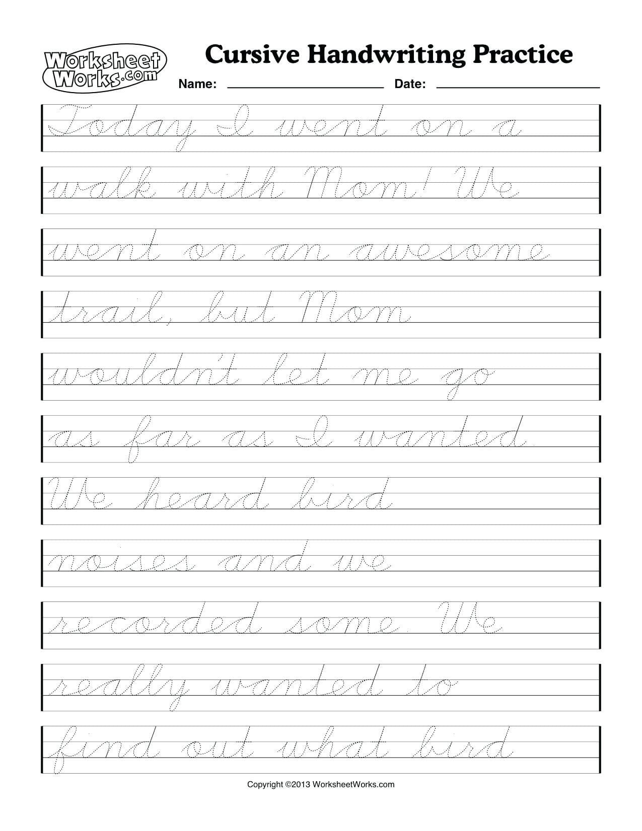 6th Grade Cursive Handwriting Worksheets Holiday