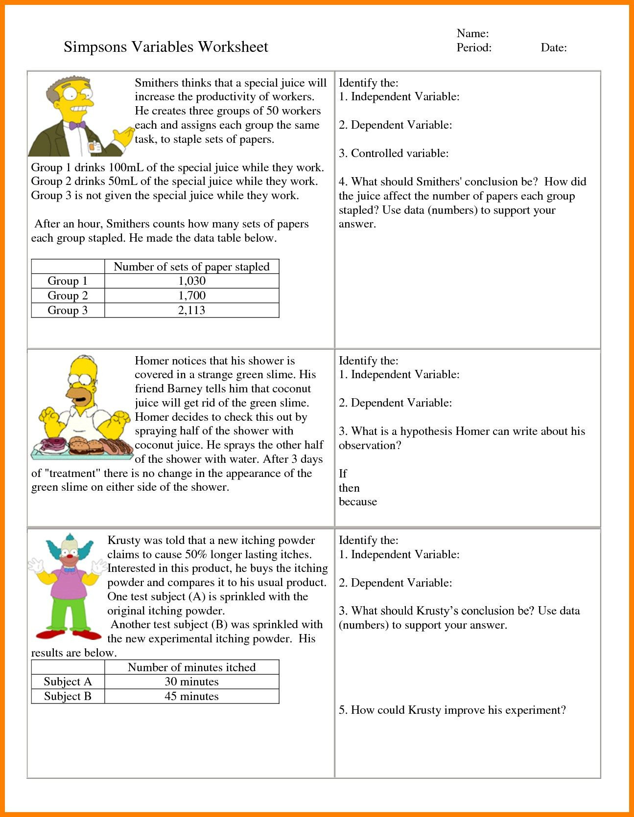 6th Grade Hypothesis Worksheet Refrence 7 Independent And