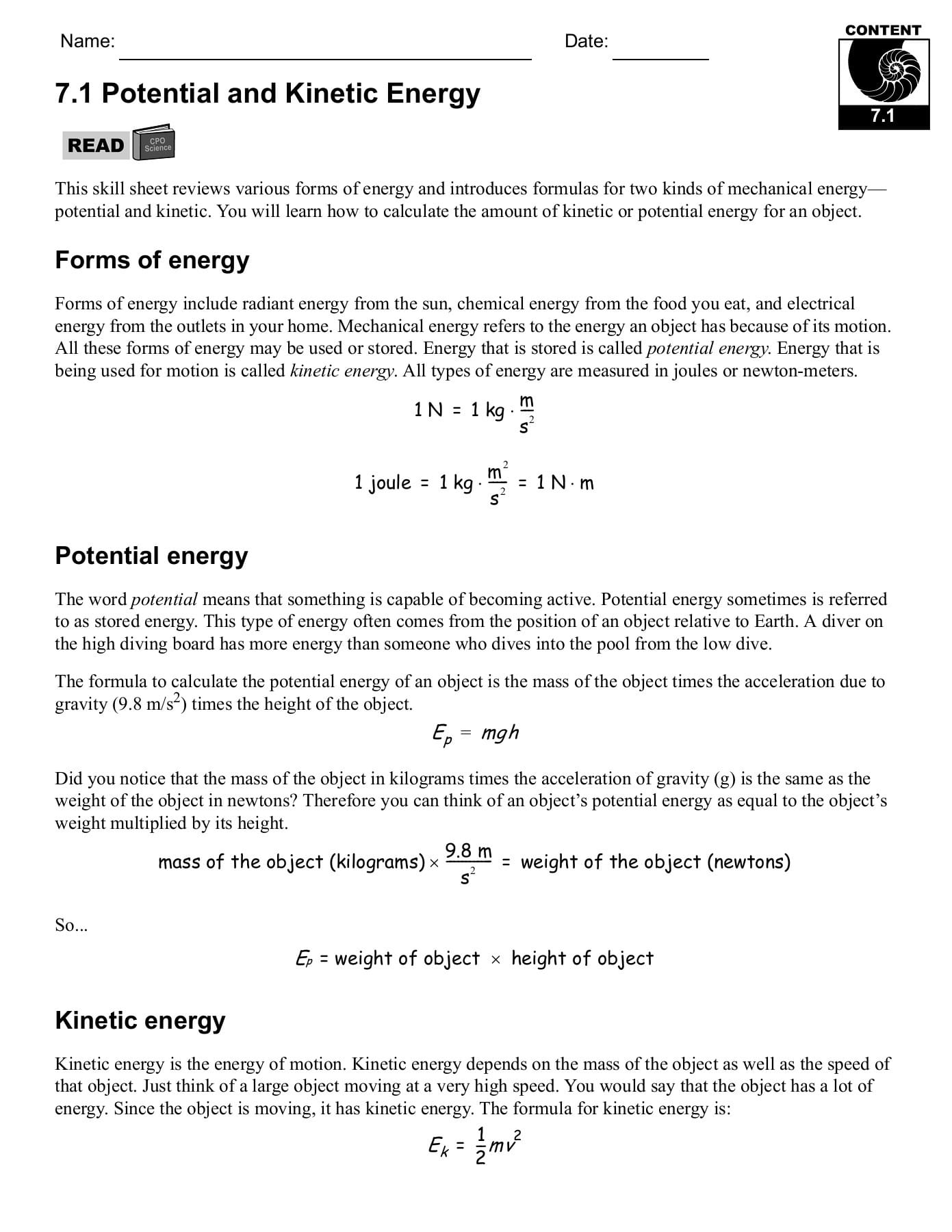 71 Potential And Kinetic Energy Cpo Science Pages 1 29