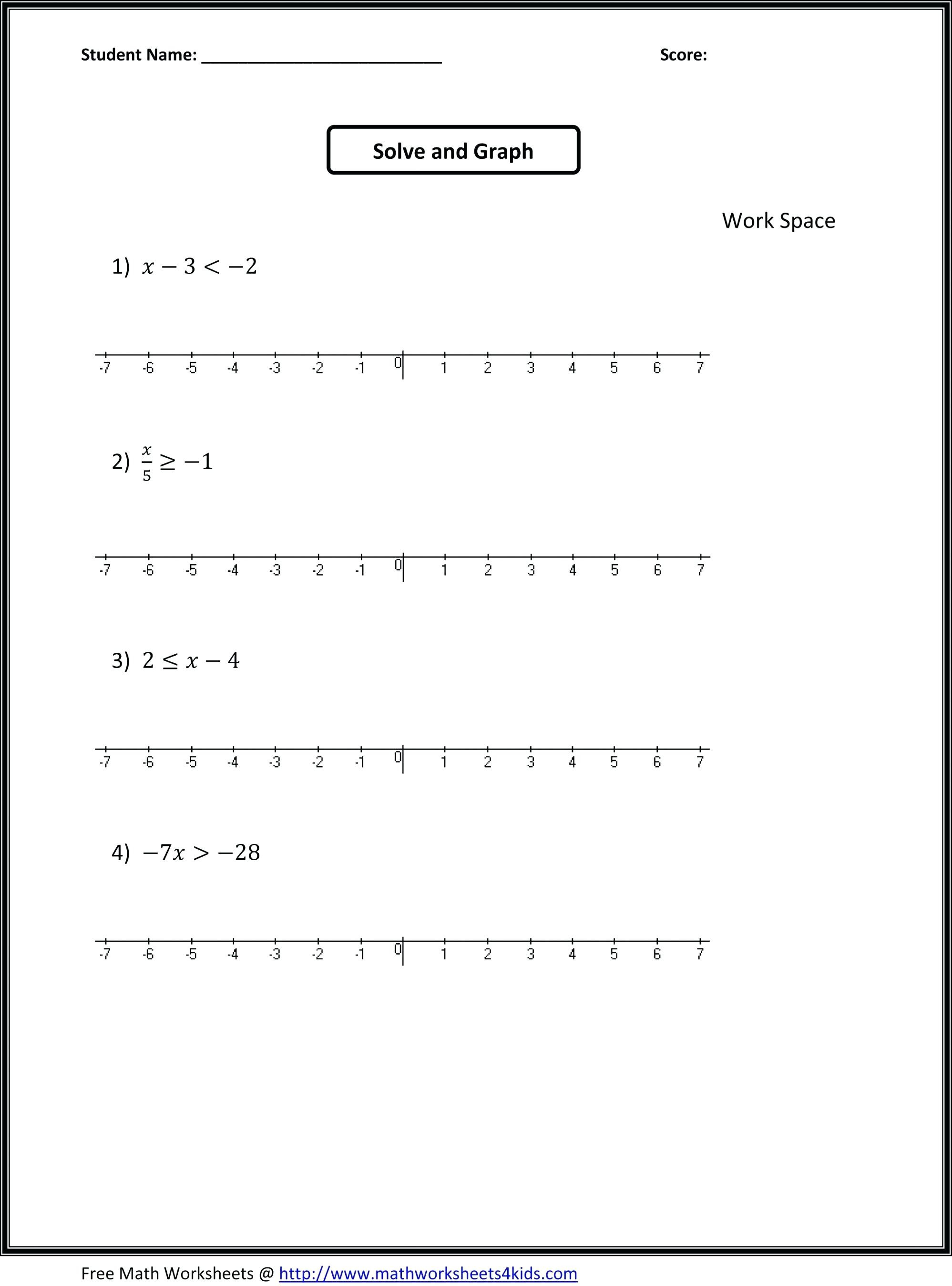 hight resolution of Inequalities Worksheets For 9th Grade Algebra   Printable Worksheets and  Activities for Teachers
