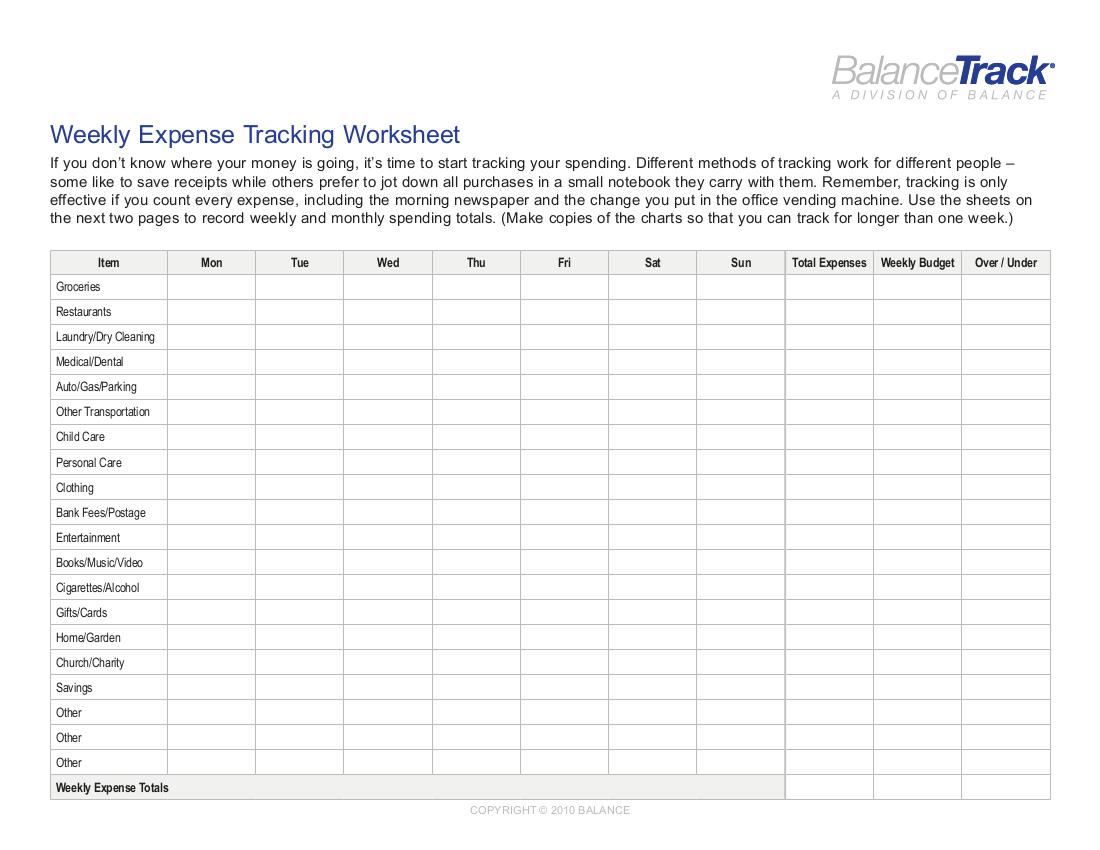 9 Expense Worksheet In
