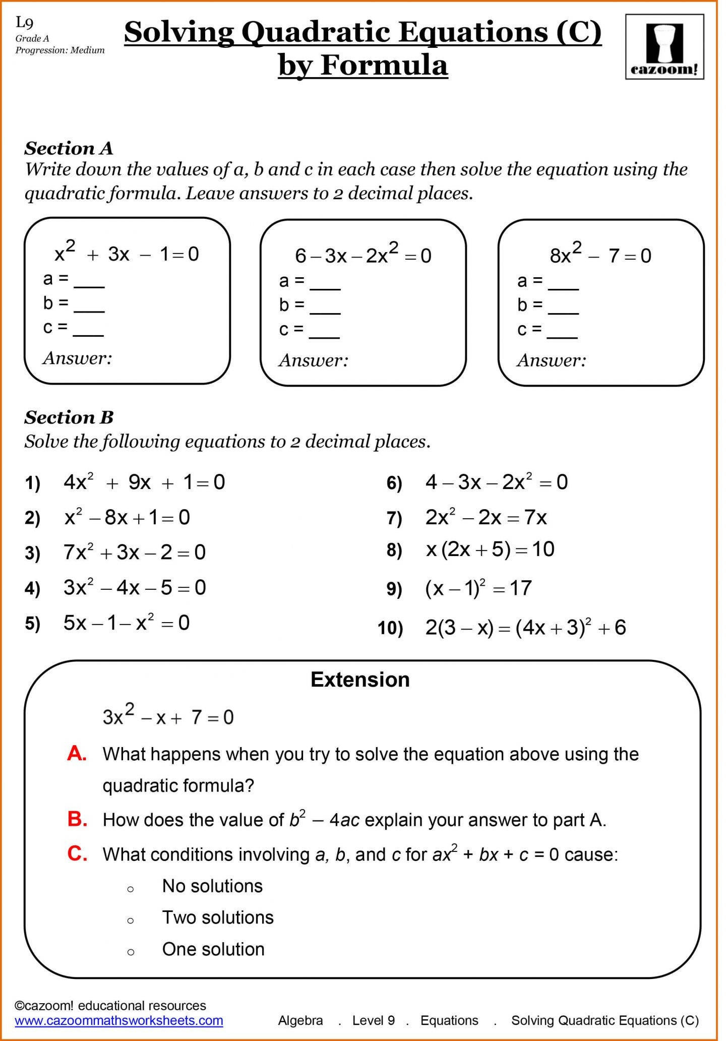 9th Grade Algebra Worksheets Free Printable Free Printable