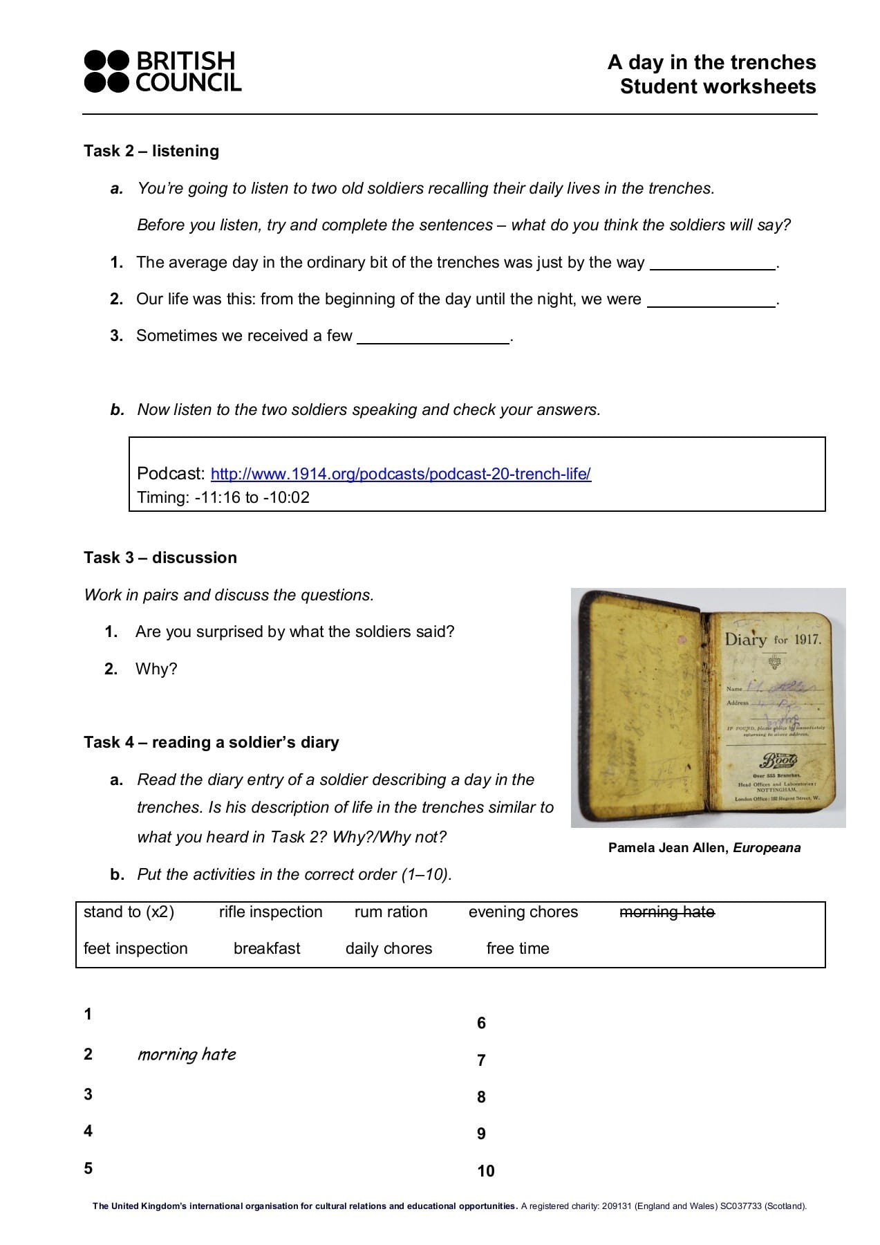 A Day In The Trenches Student Worksheets British Council
