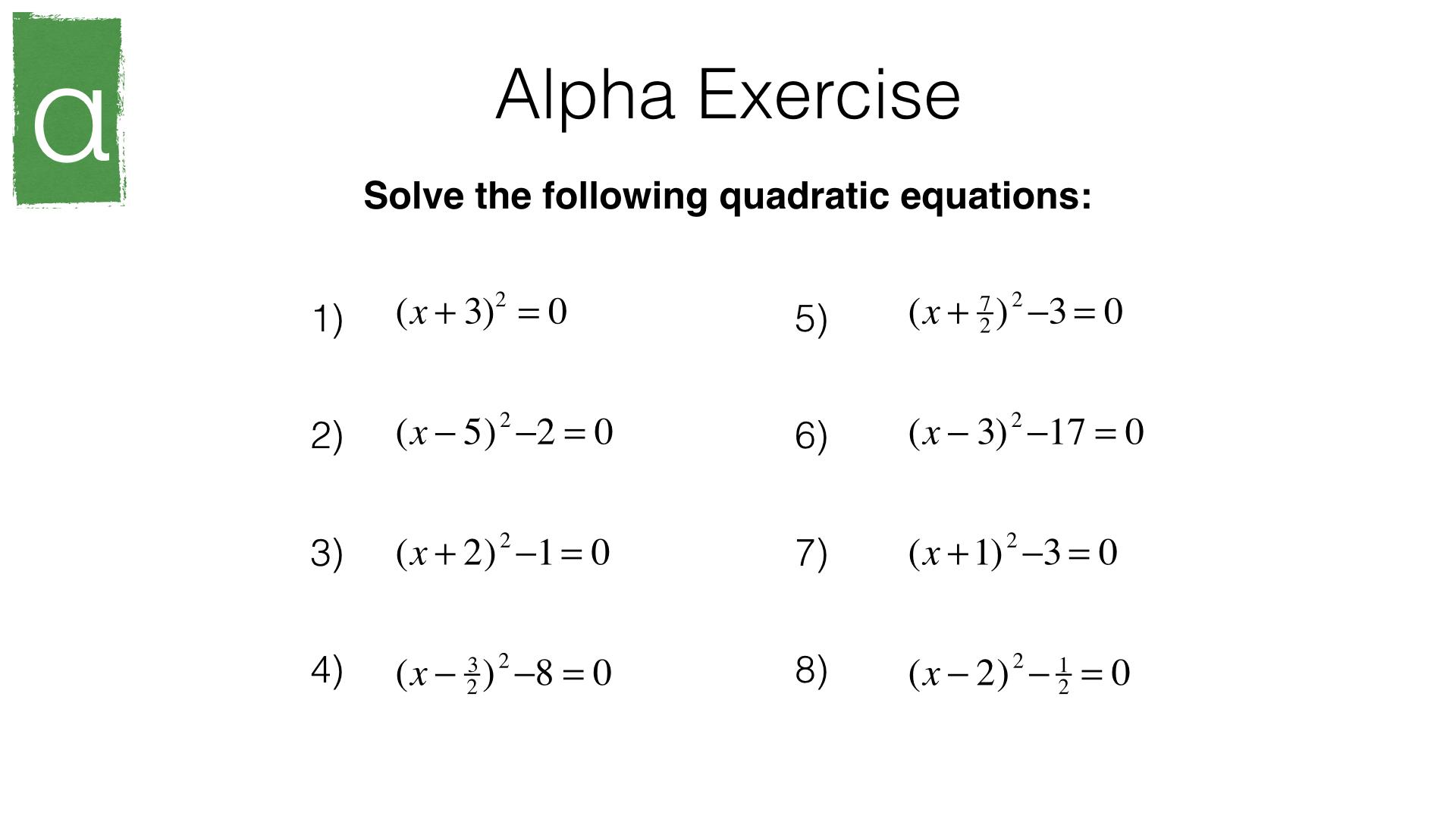 A18b Solving Quadratic Equationscompleting The Square