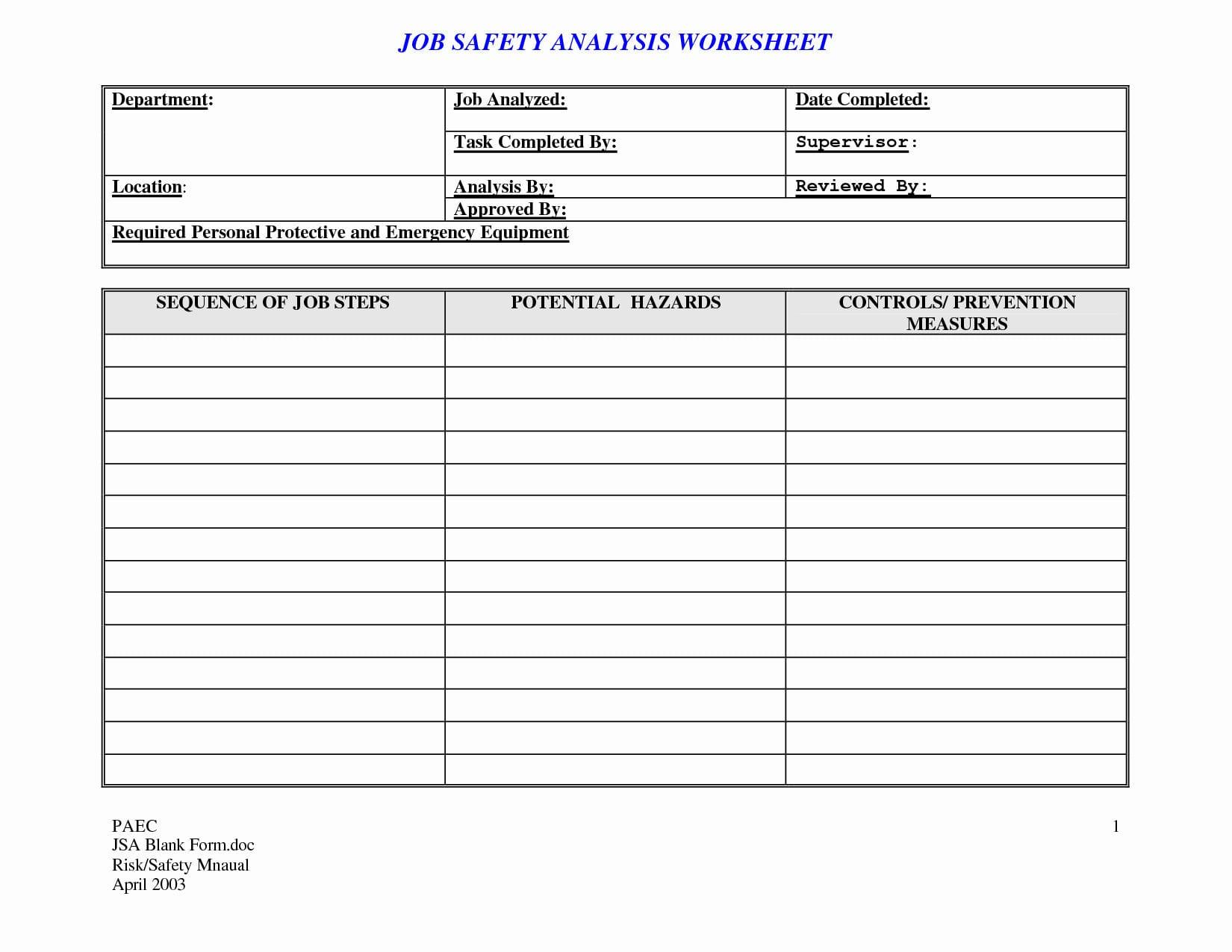Job Safetyysis Worksheet