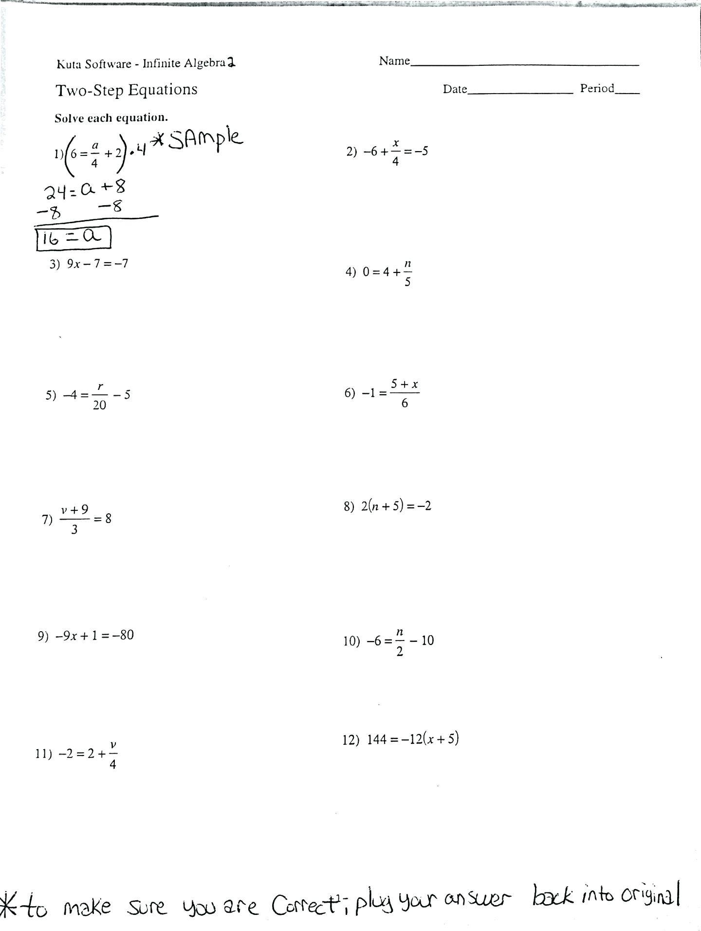 Solving One Step Equations Worksheet
