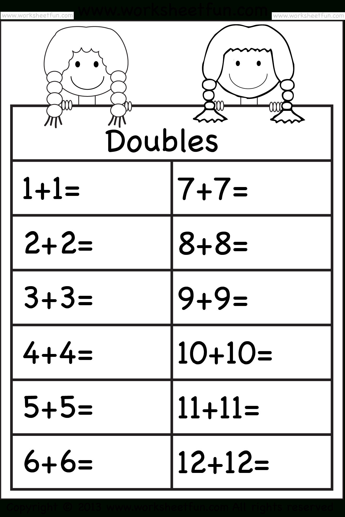 Adding Doubles Worksheets