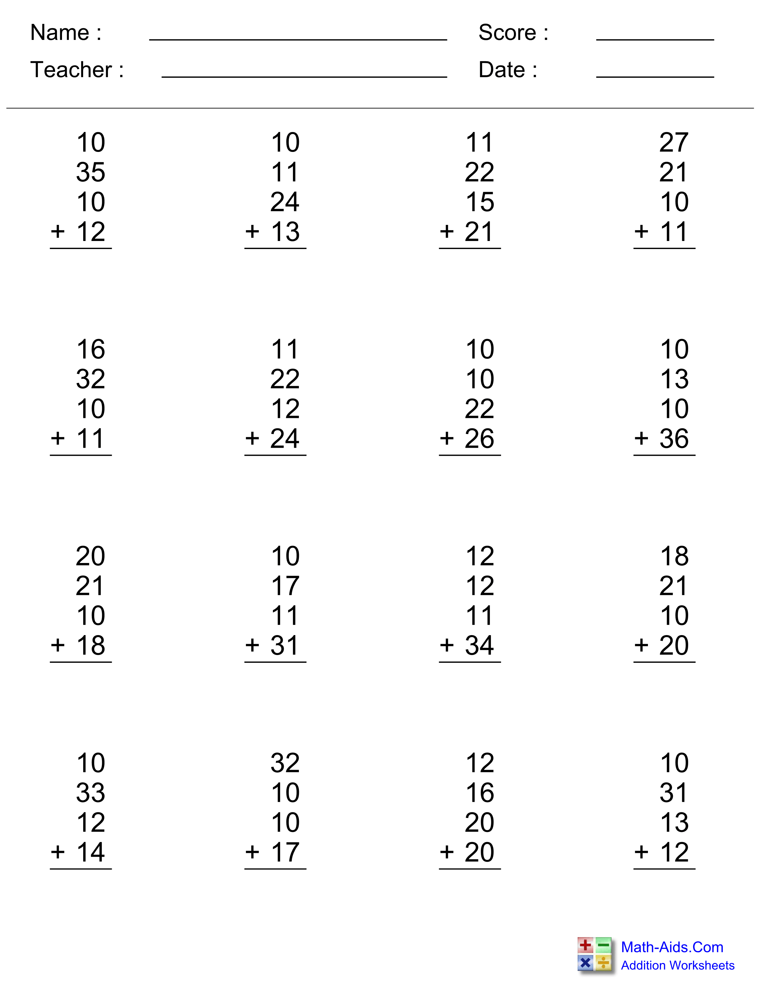 Addition Worksheets Dynamically Created Addition