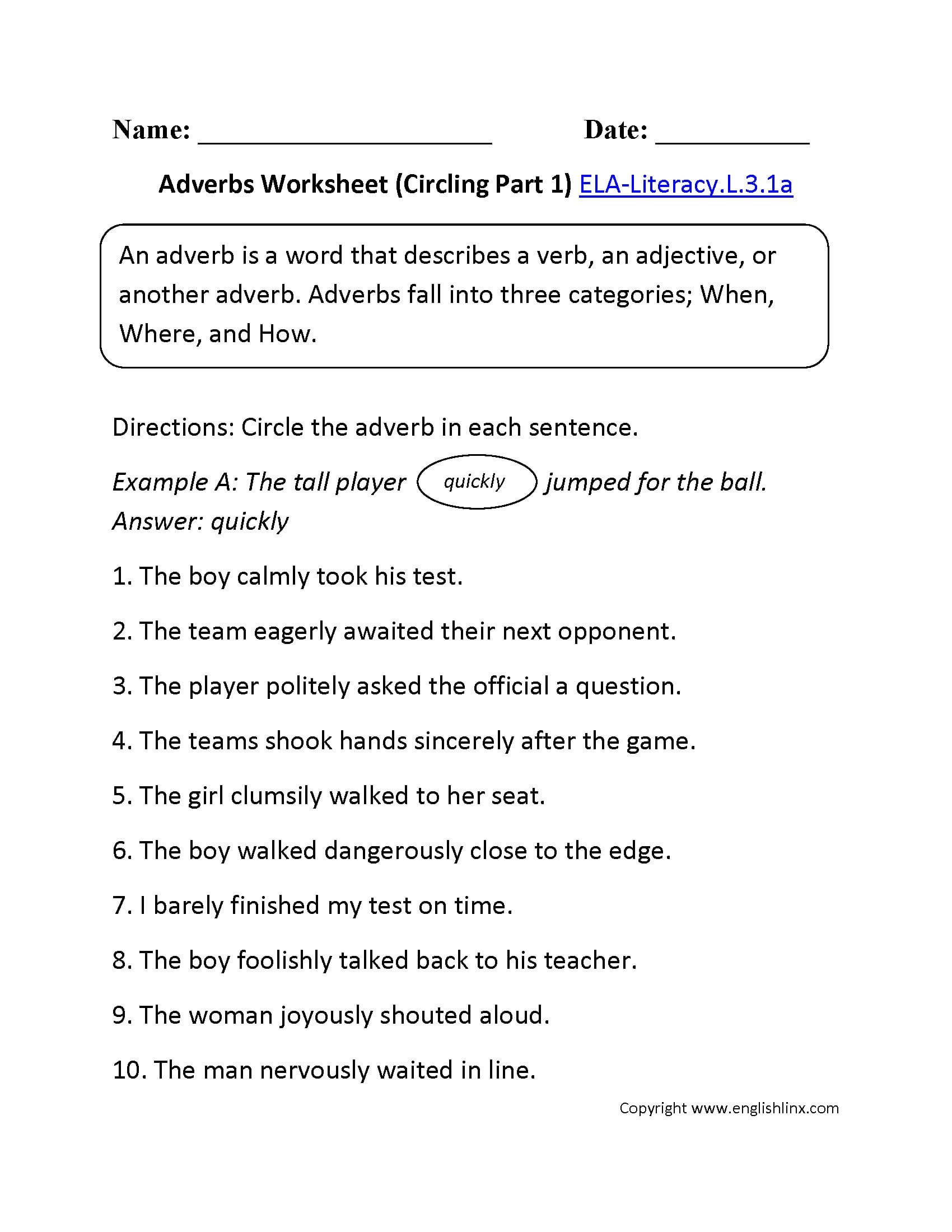 Adverb Worksheets 3rd Grade To Print Math Worksheet For