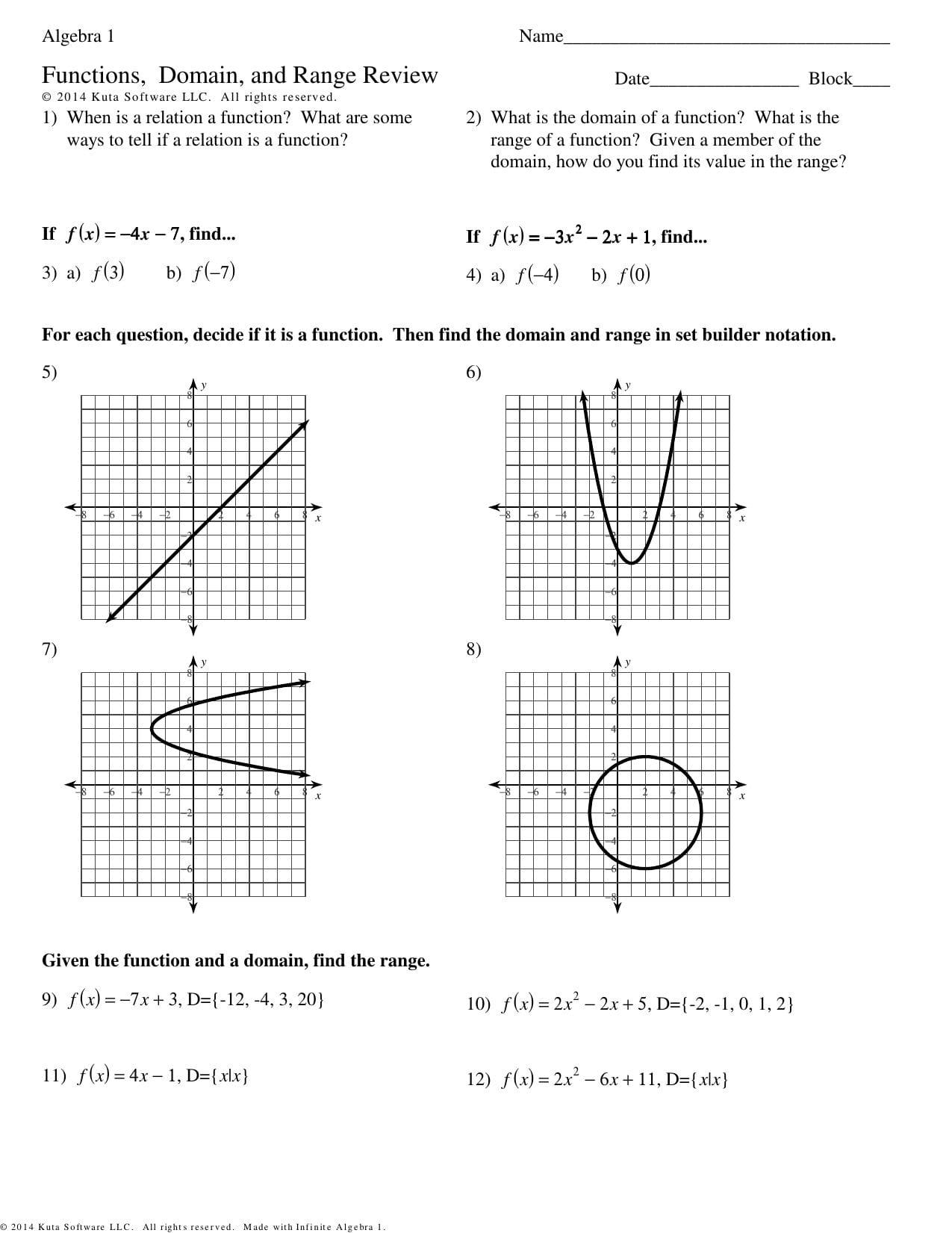 Domain And Range Worksheet Algebra 1