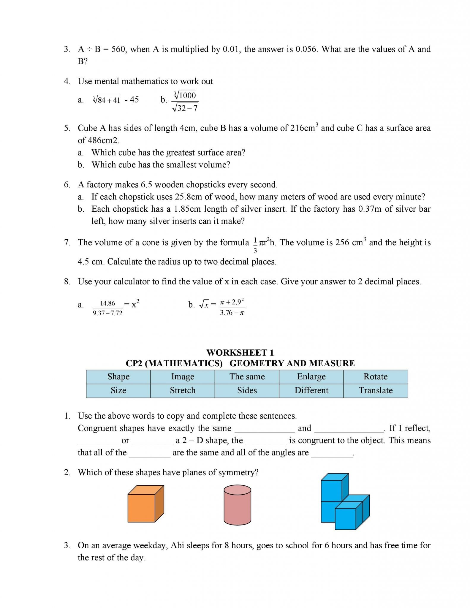 Algebra 1 Worksheet 1 5 Translating Expressions Answer Key
