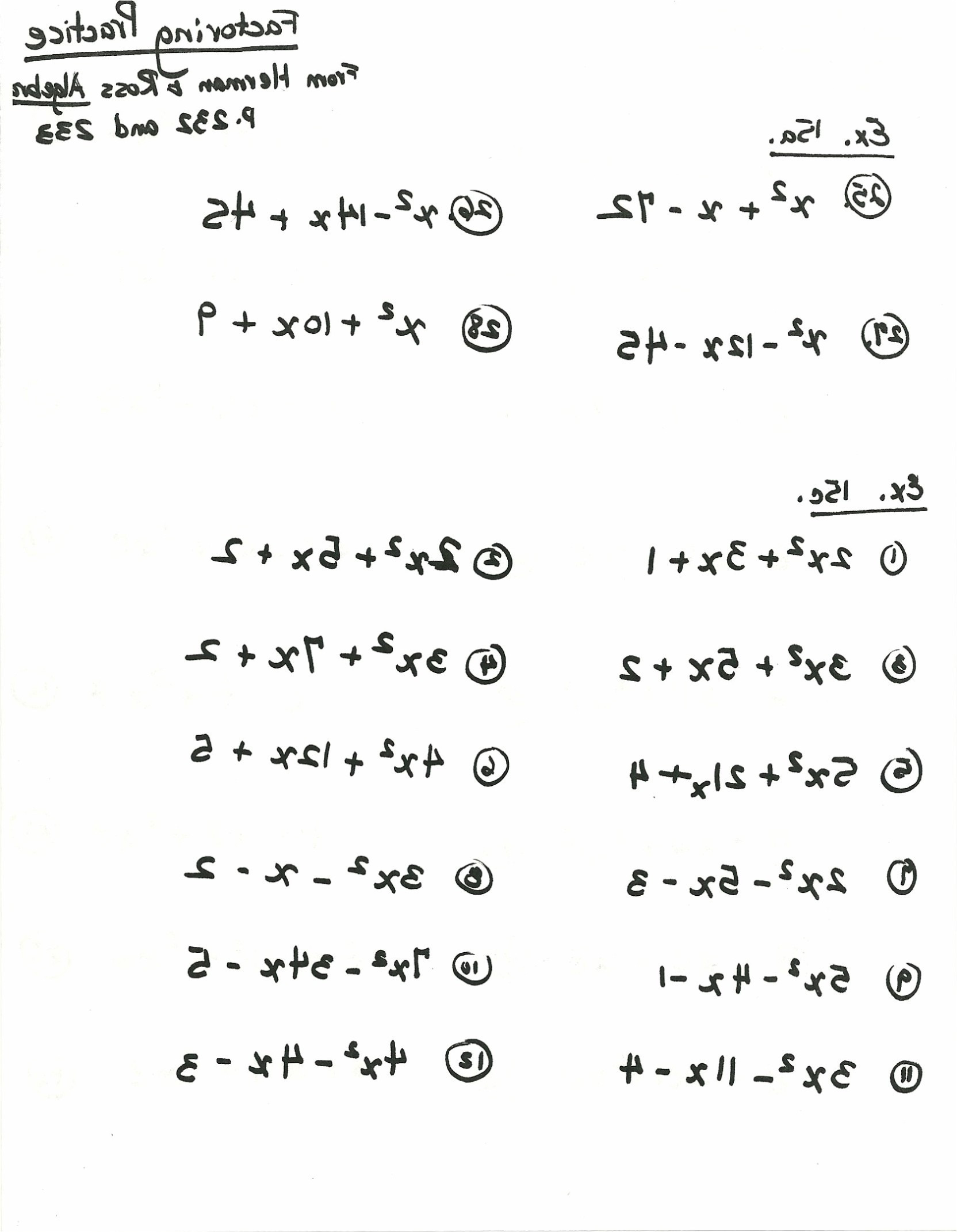 Factoring Worksheet With Answer Key