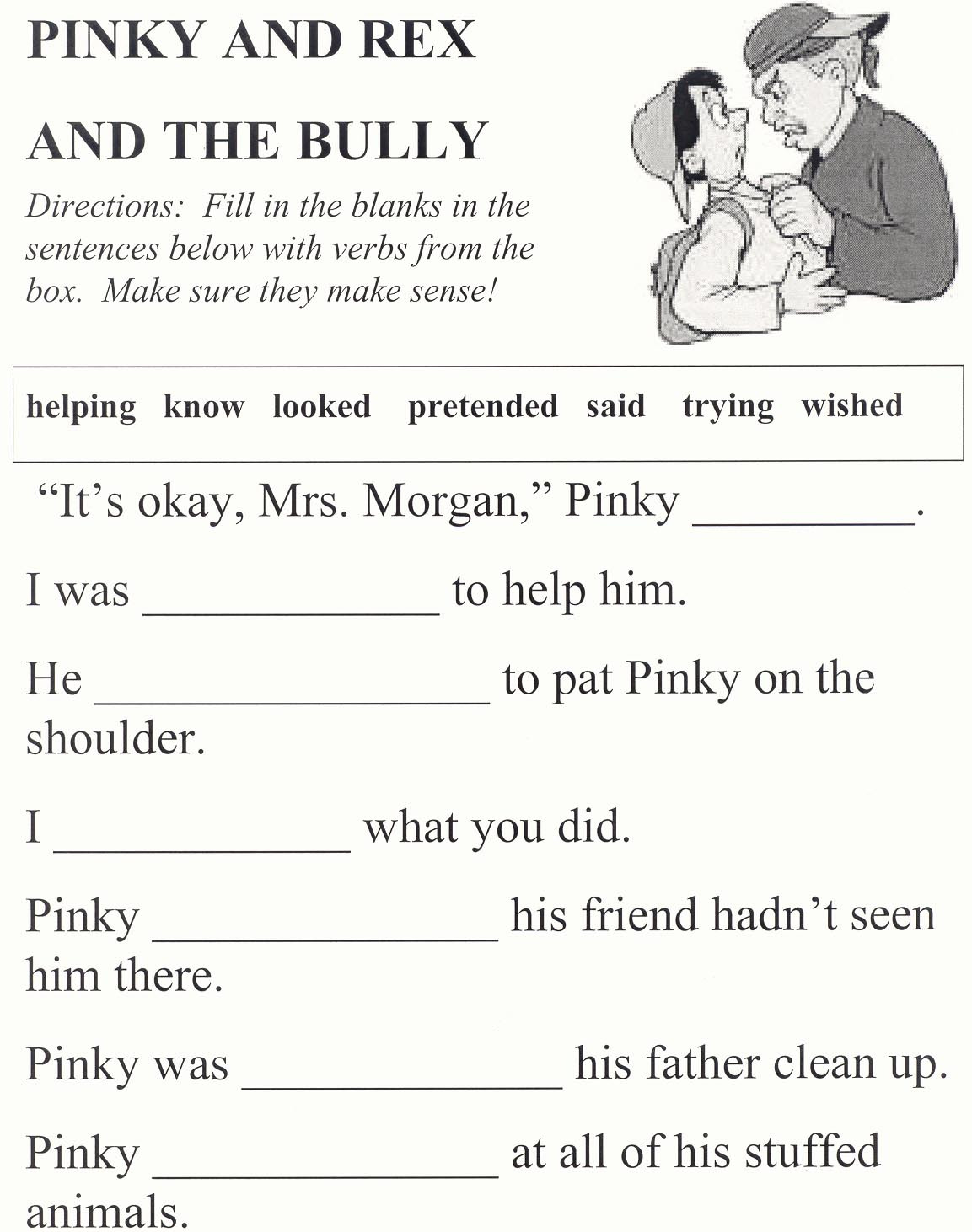 First Grade Bullying Worksheets