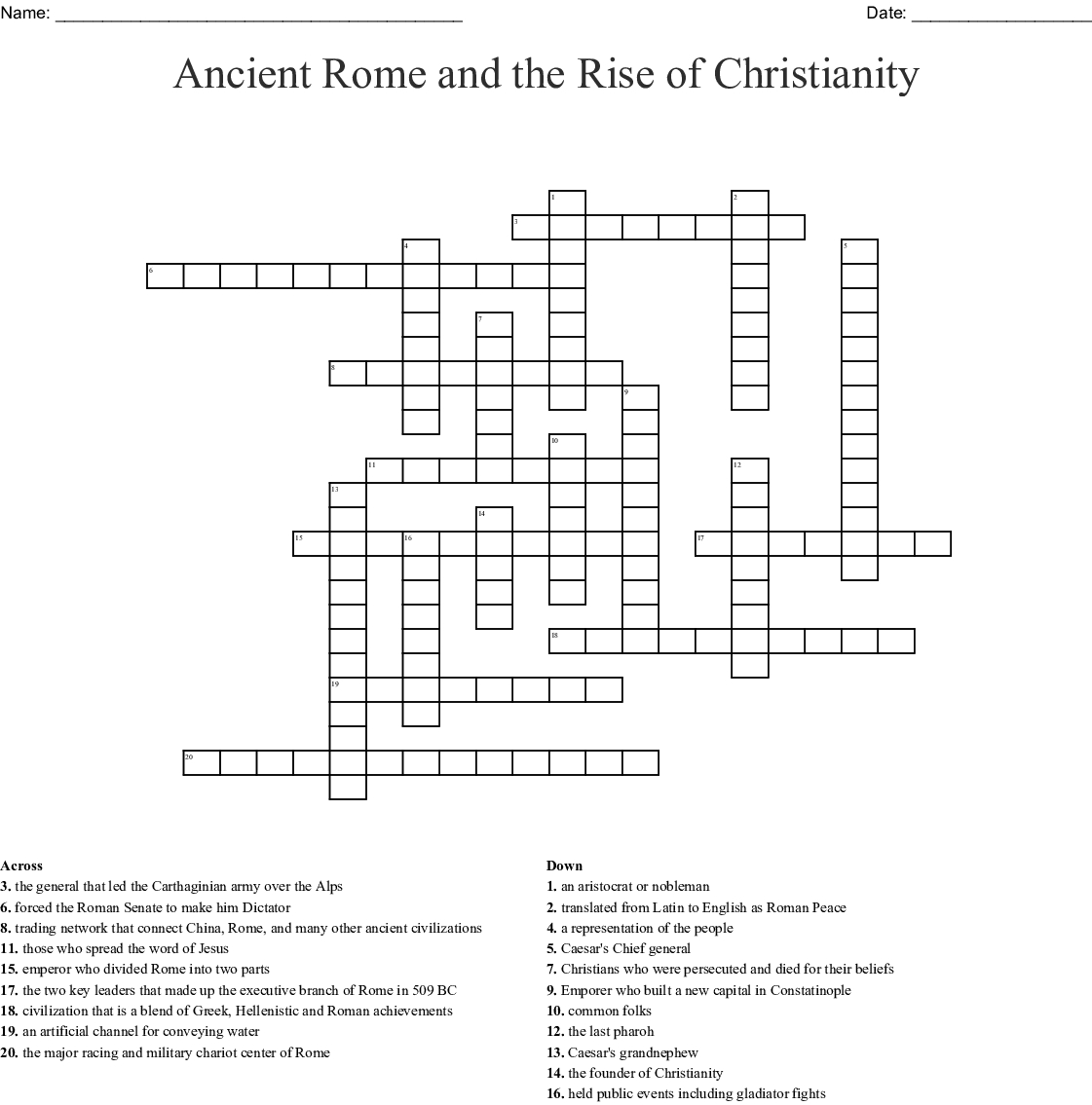 Ancient Rome And The Rise Of Christianity Crossword Word