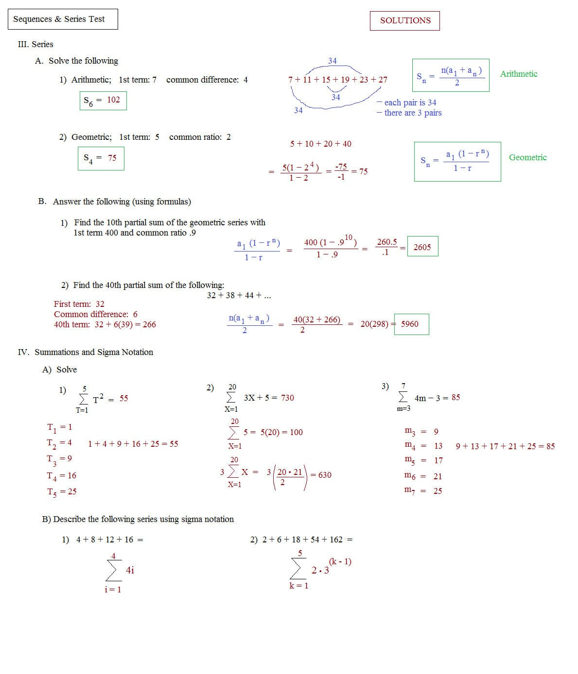Arithmetic And Geometric Sequences And Series Review