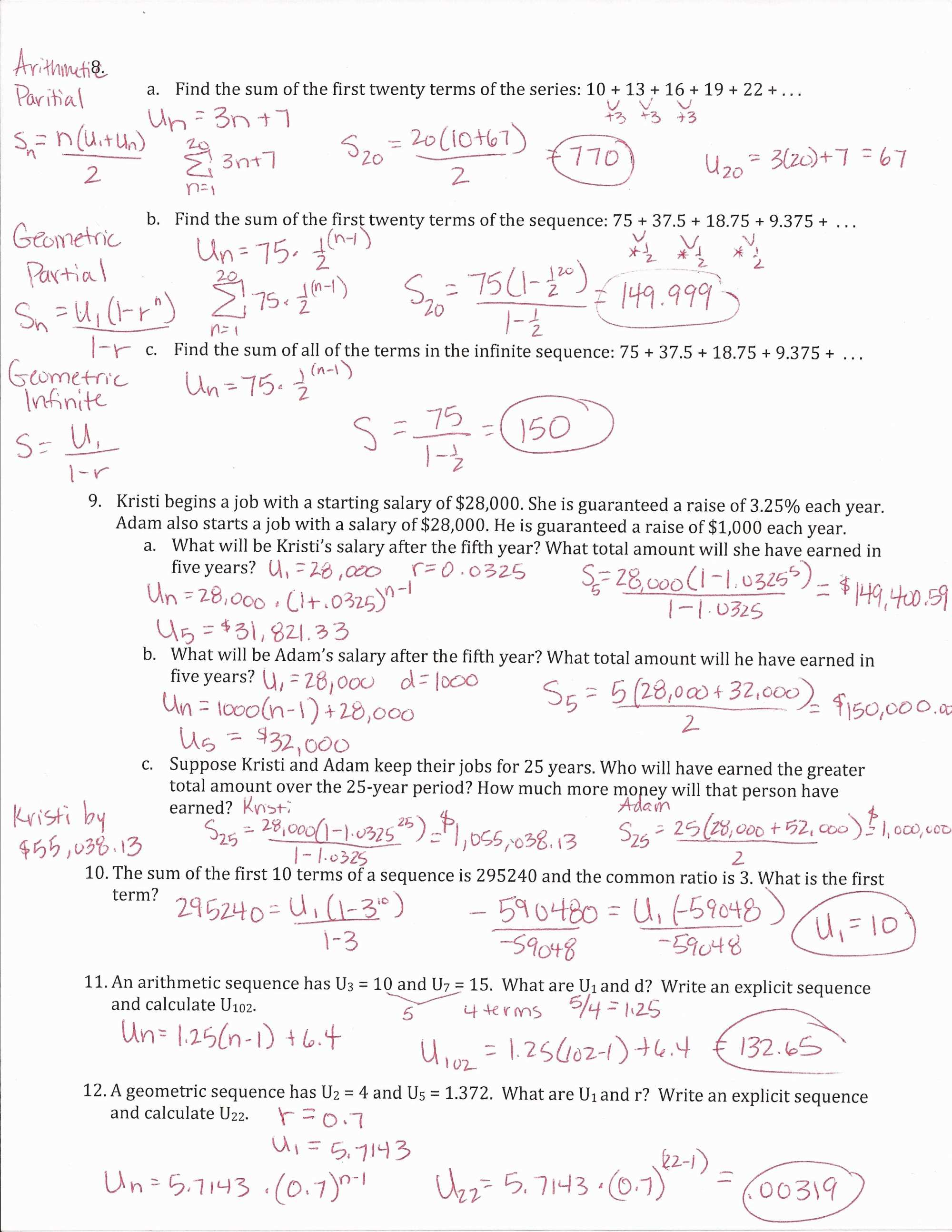 hight resolution of Arithmetic Sequences Worksheet Answers   Printable Worksheets and  Activities for Teachers