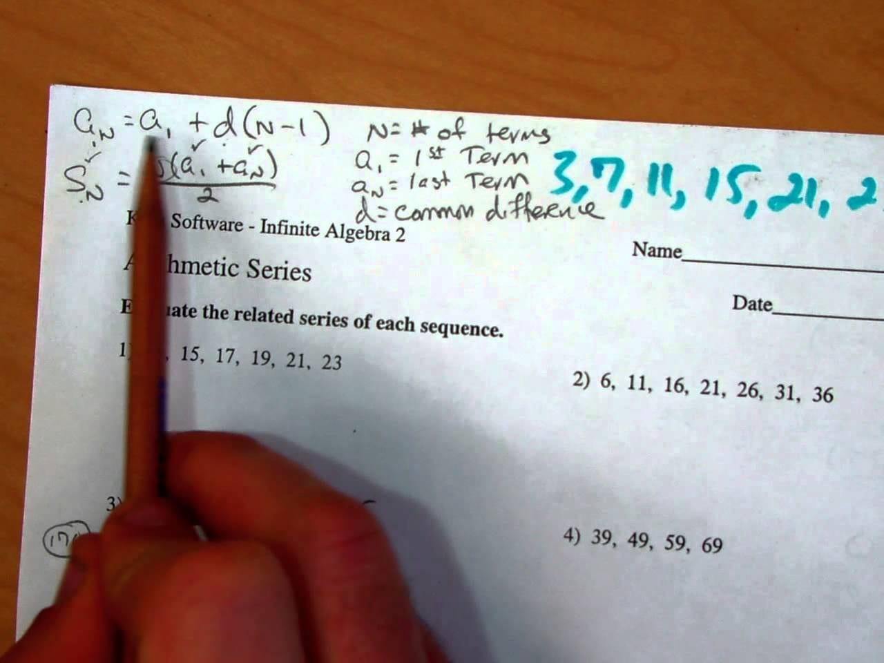 Arithmetic Sequence Worksheet Algebra 1 Pemdas Worksheets