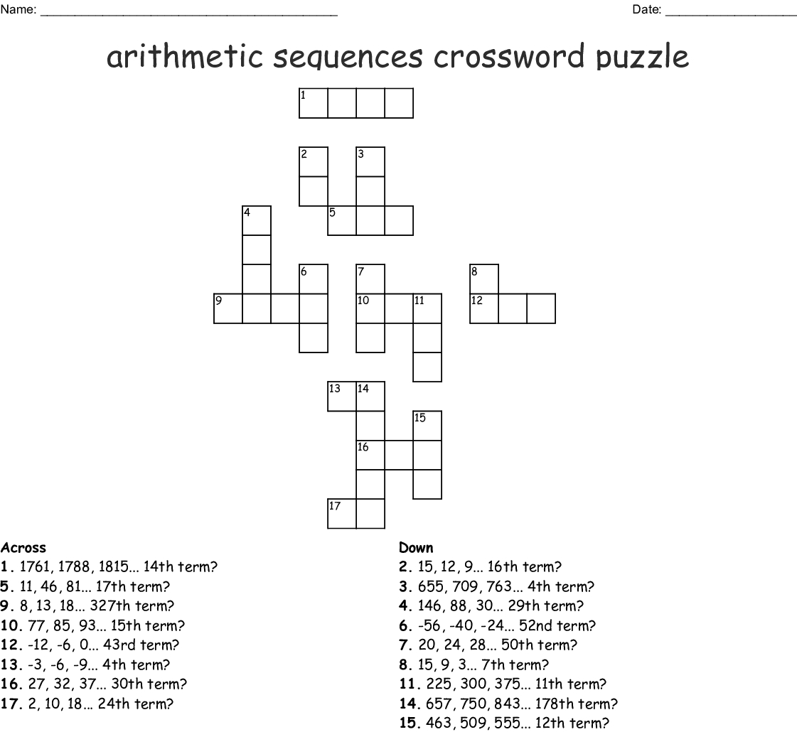 Arithmetic Sequence Worksheet 1