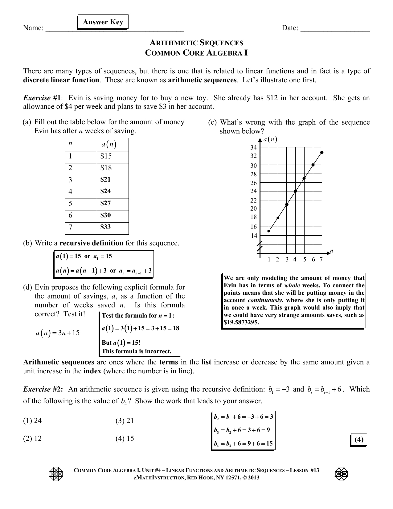 Arithmetic Sequences As Linear Functions Worksheet Db Excel