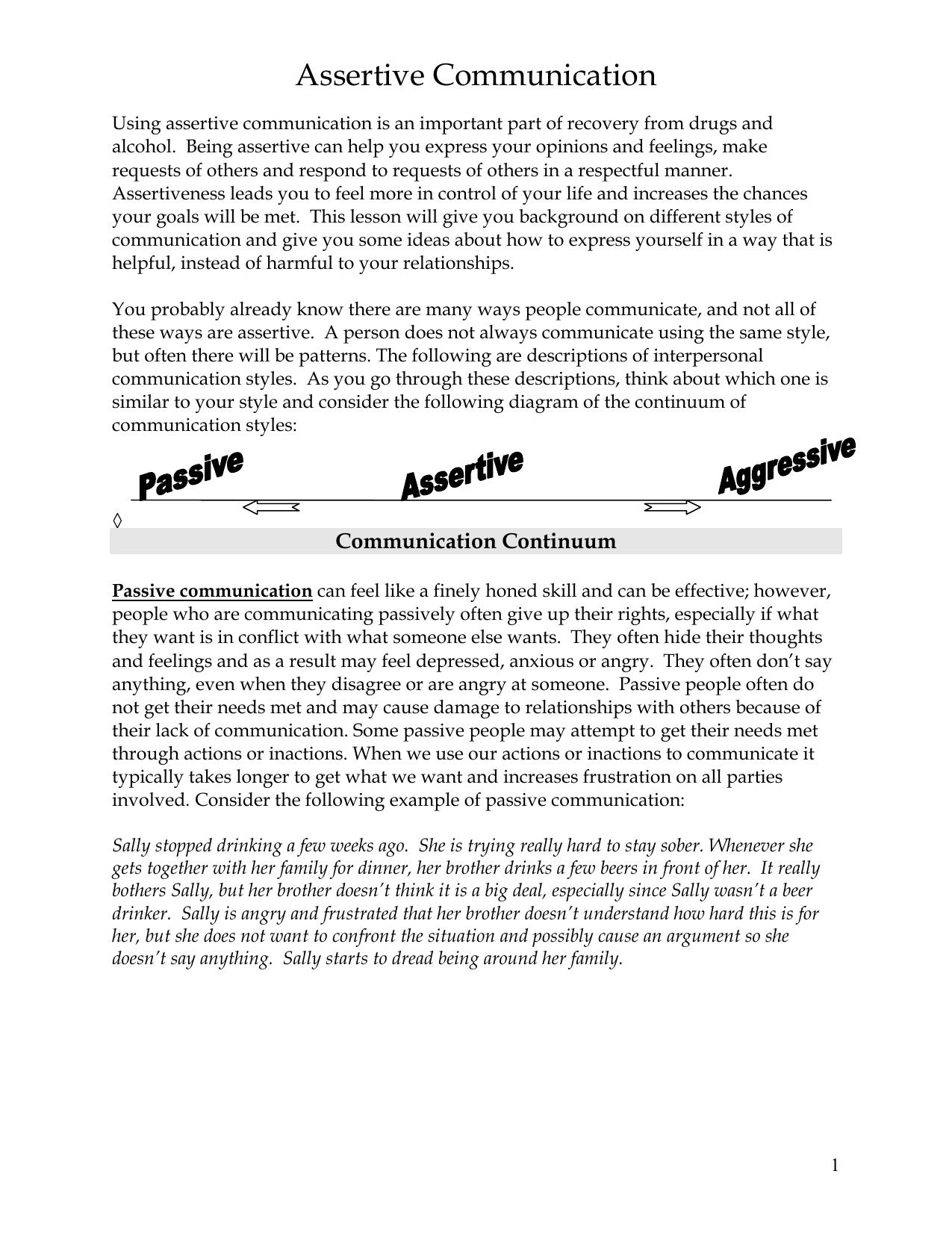 Assertive Communication Worksheet